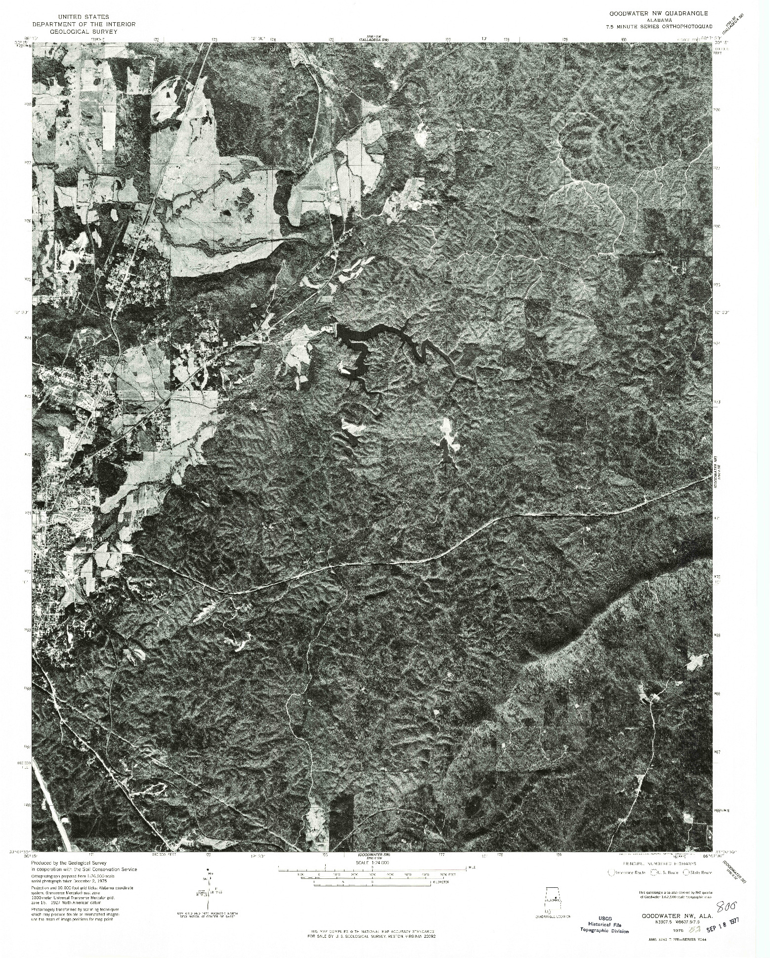 USGS 1:24000-SCALE QUADRANGLE FOR GOODWATER NW, AL 1975
