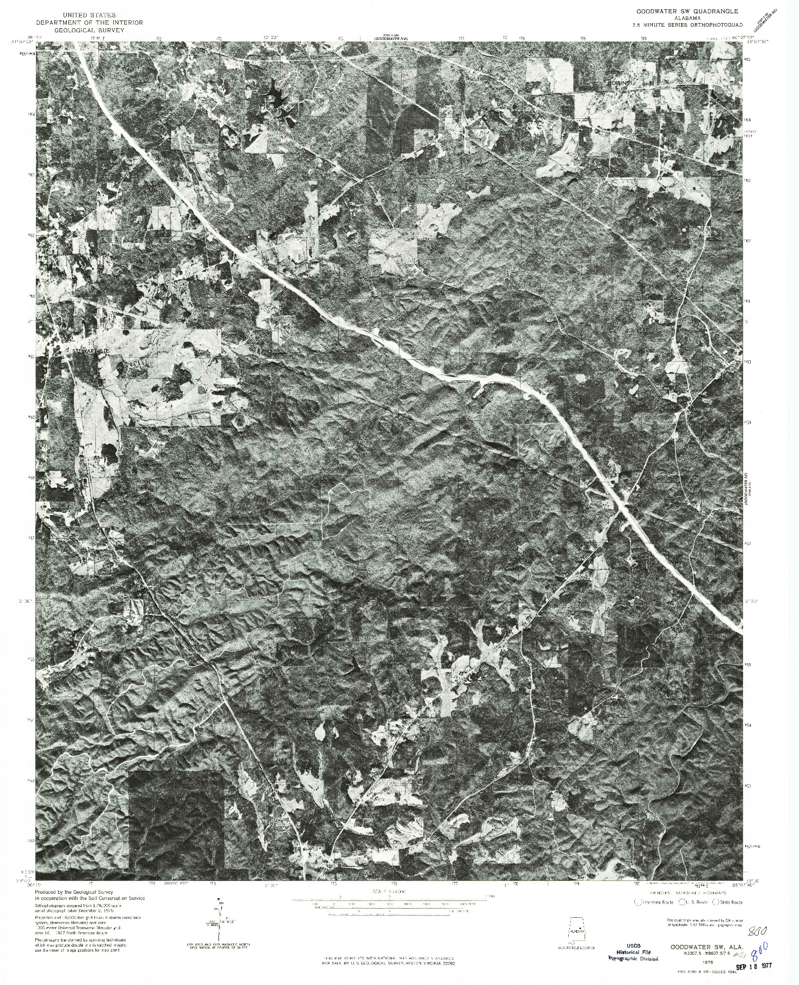 USGS 1:24000-SCALE QUADRANGLE FOR GOODWATER SE, AL 1975