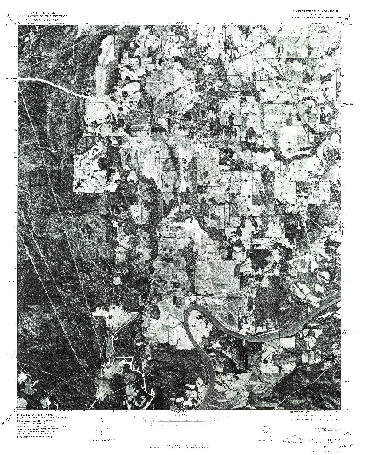 USGS 1:24000-SCALE QUADRANGLE FOR HARPERSVILLE, AL 1975