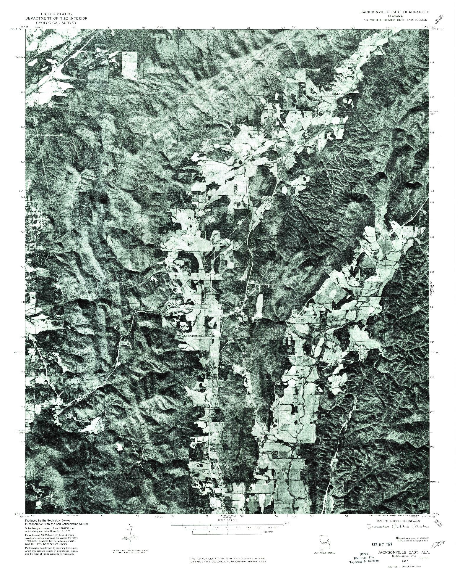 USGS 1:24000-SCALE QUADRANGLE FOR JACKSONVILLE EAST, AL 1975