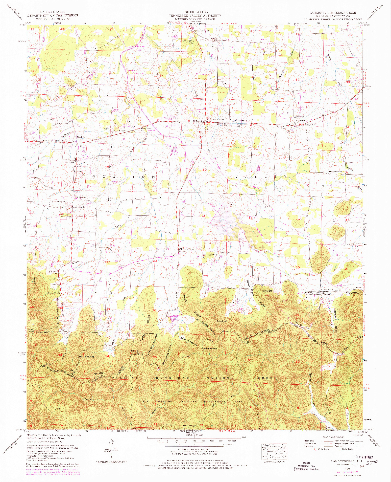 USGS 1:24000-SCALE QUADRANGLE FOR LANDERSVILLE, AL 1960