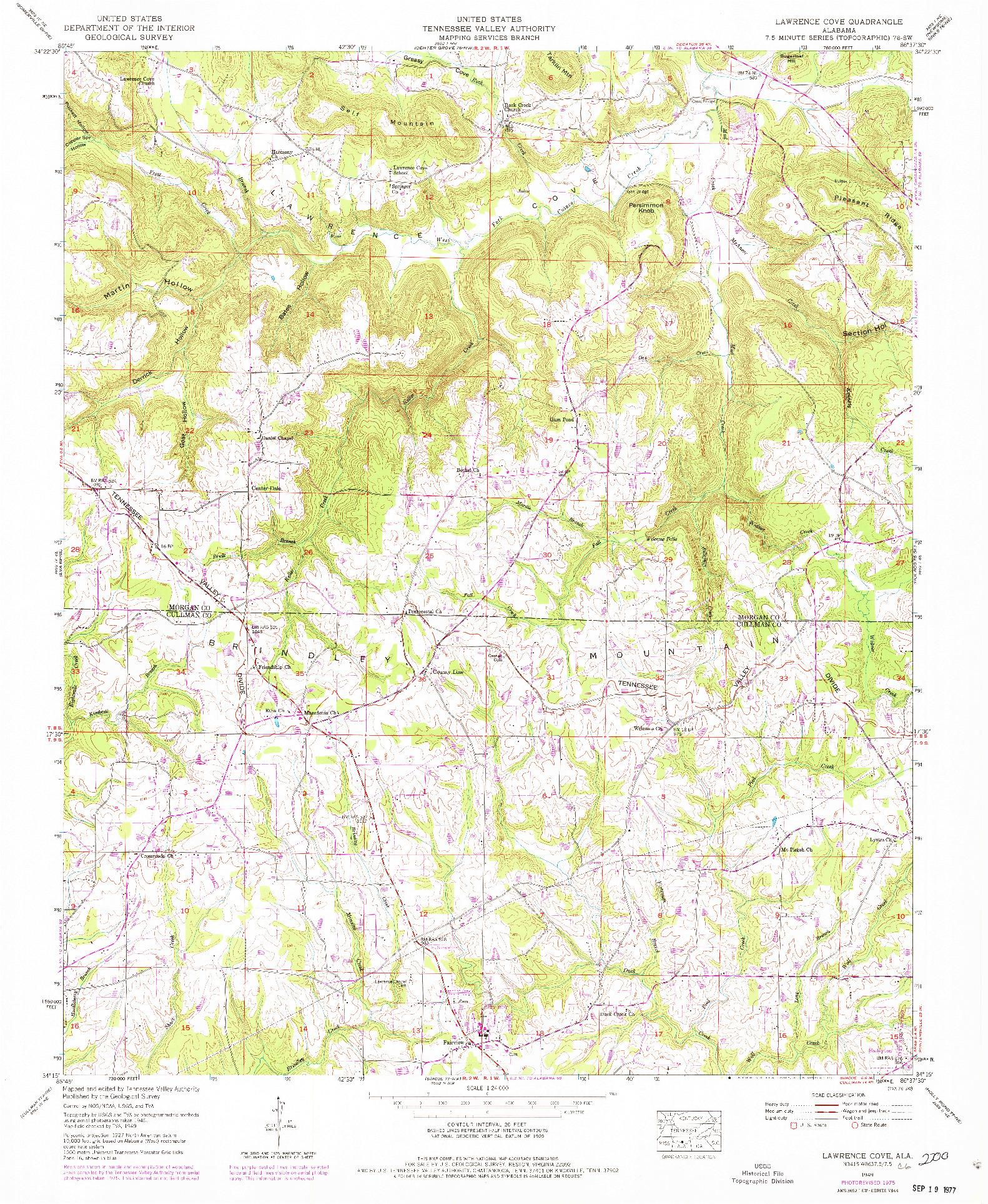 USGS 1:24000-SCALE QUADRANGLE FOR LAWRENCE COVE, AL 1949