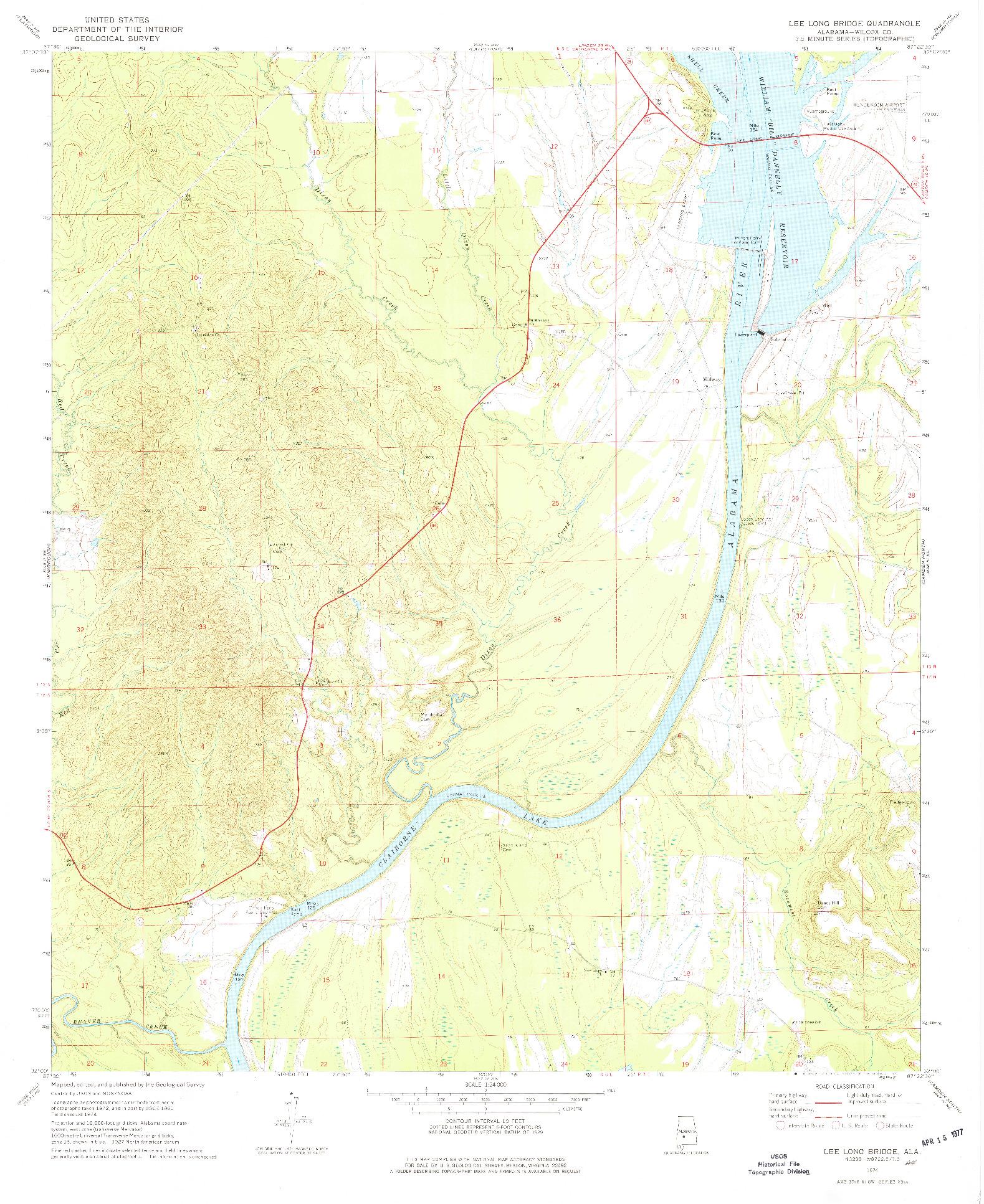 USGS 1:24000-SCALE QUADRANGLE FOR LEE LONG BRIDGE, AL 1974