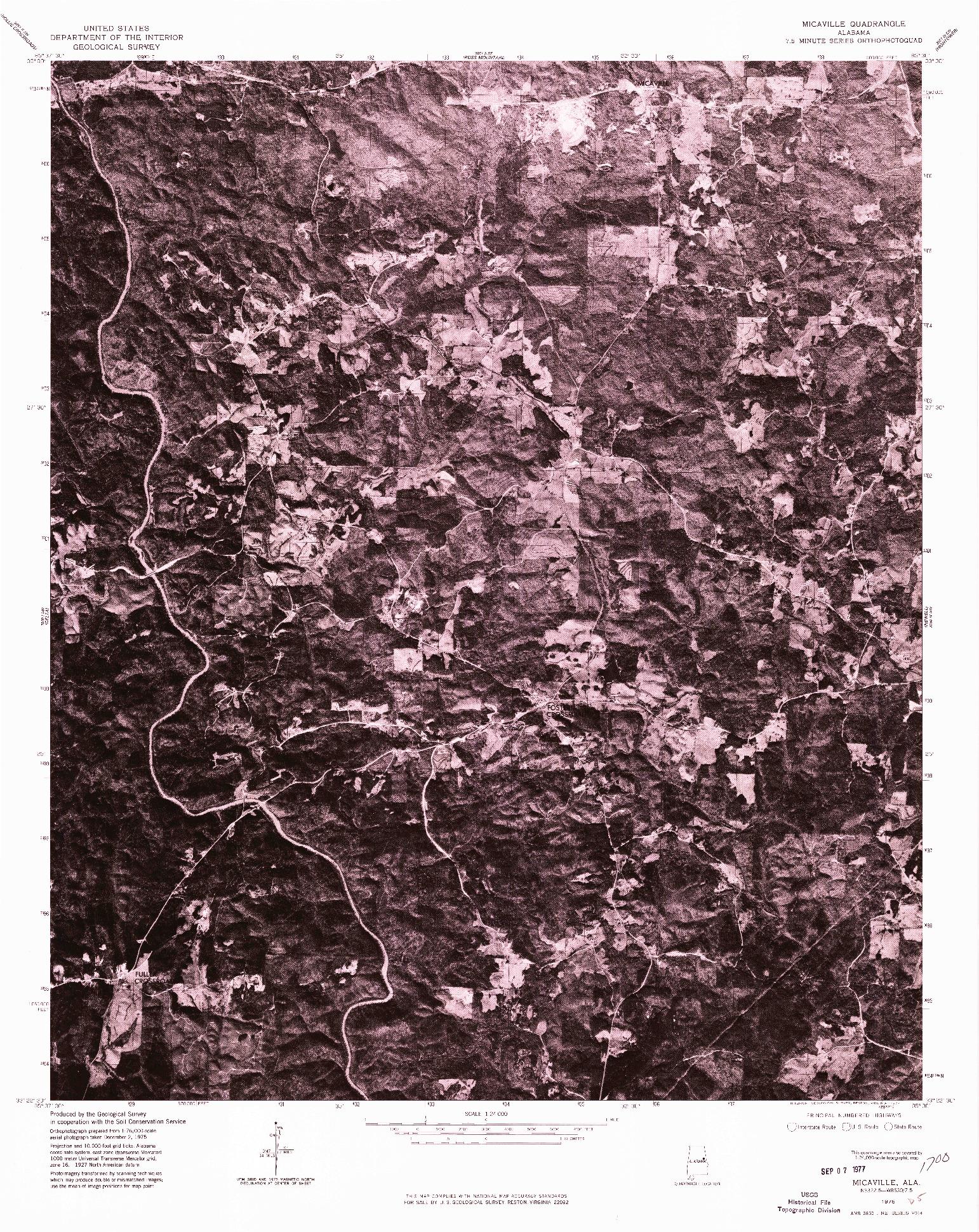 USGS 1:24000-SCALE QUADRANGLE FOR MICAVILLE, AL 1975
