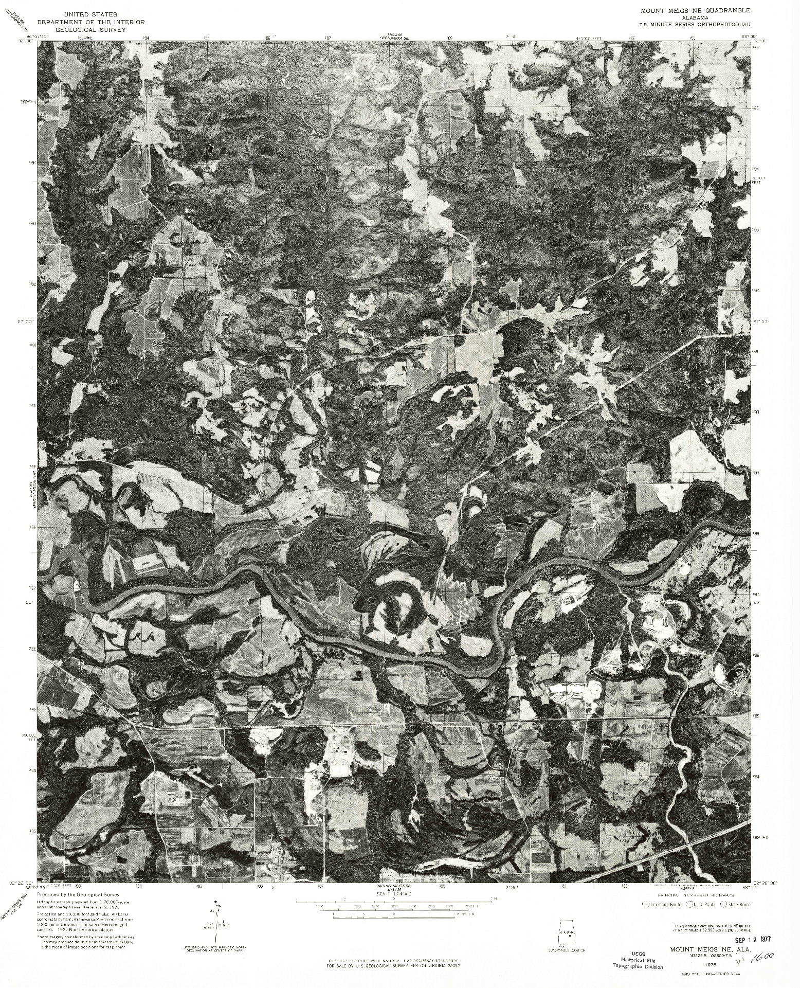 USGS 1:24000-SCALE QUADRANGLE FOR MOUNT MEIGS NE, AL 1975