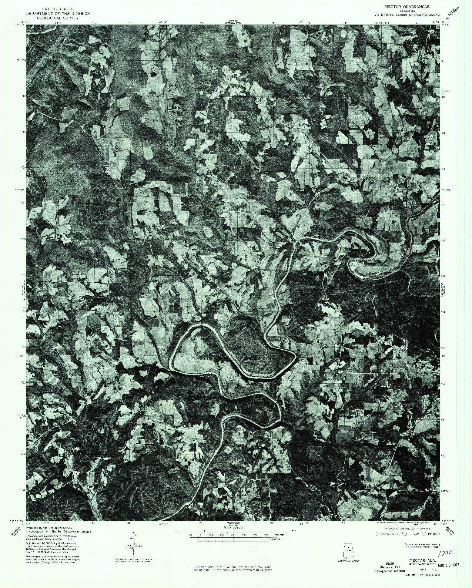 USGS 1:24000-SCALE QUADRANGLE FOR NECTAR, AL 1975