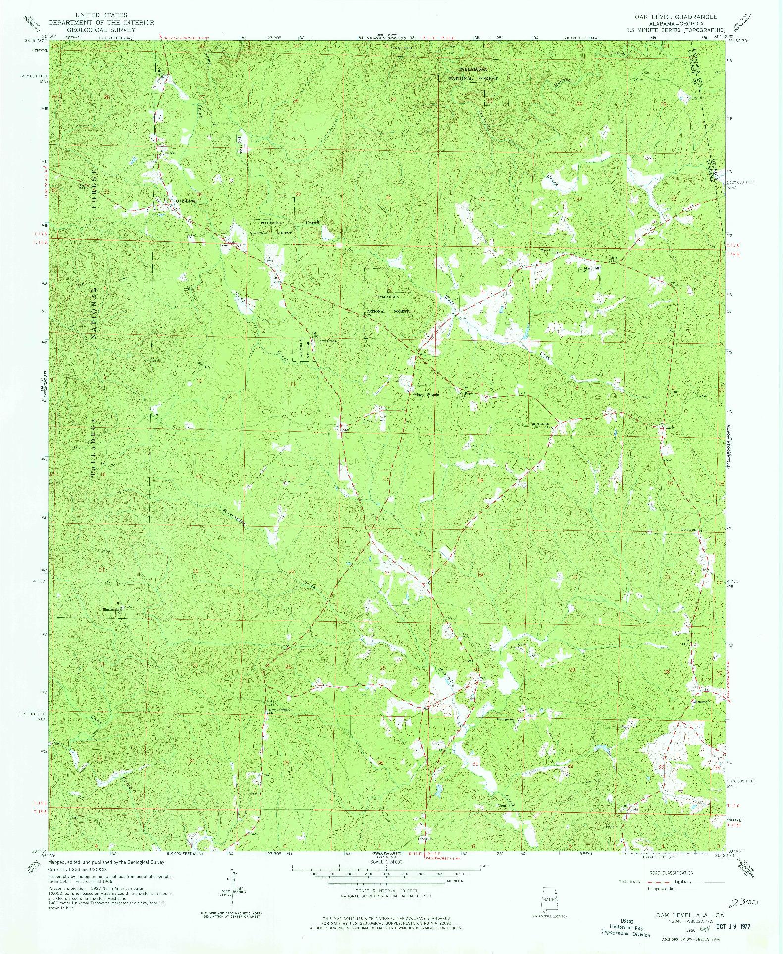 USGS 1:24000-SCALE QUADRANGLE FOR OAK LEVEL, AL 1966