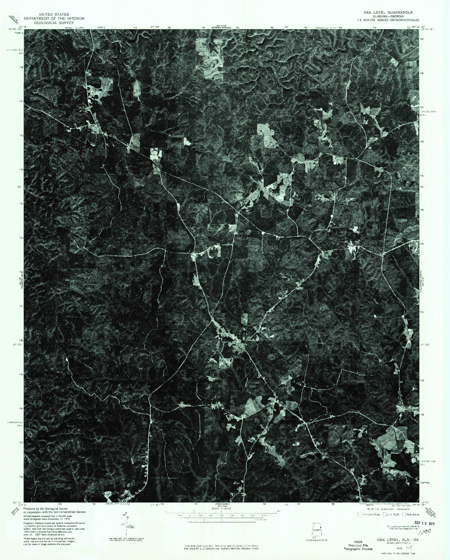 USGS 1:24000-SCALE QUADRANGLE FOR OAK LEVEL, AL 1975