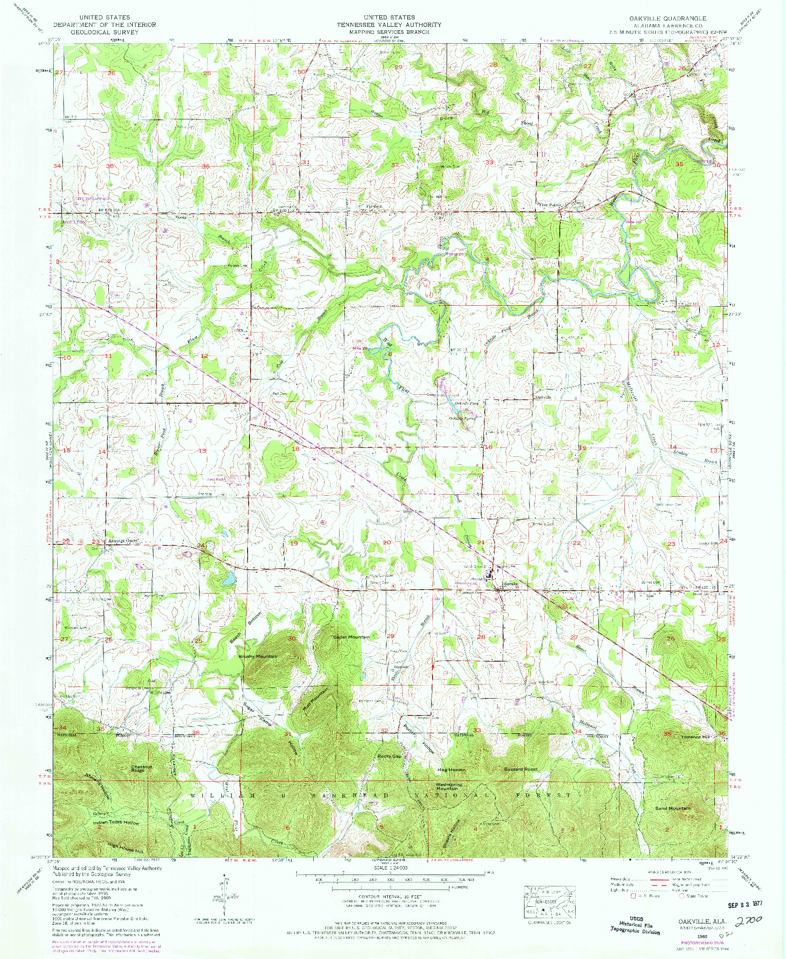 USGS 1:24000-SCALE QUADRANGLE FOR OAKVILLE, AL 1960