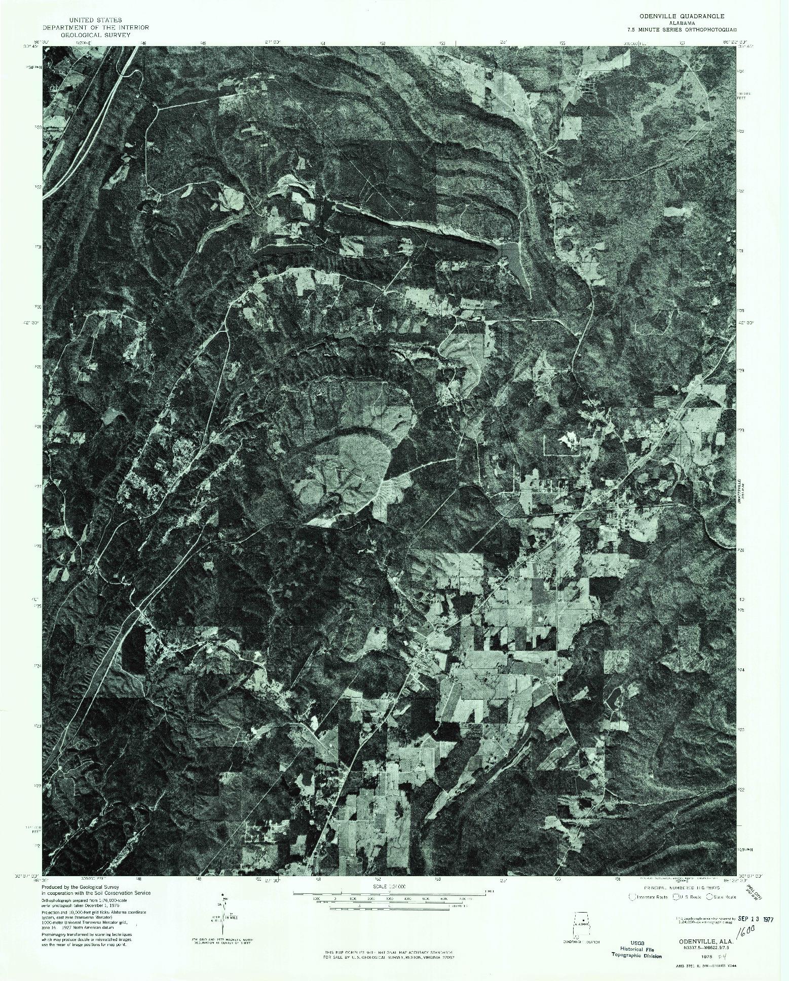 USGS 1:24000-SCALE QUADRANGLE FOR ODENVILLE, AL 1975