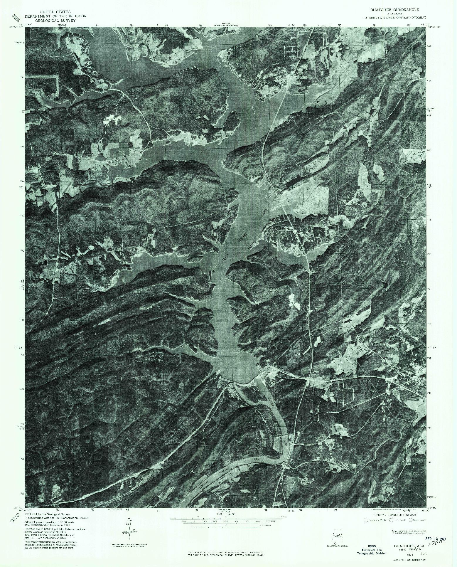 USGS 1:24000-SCALE QUADRANGLE FOR OHATCHEE, AL 1975