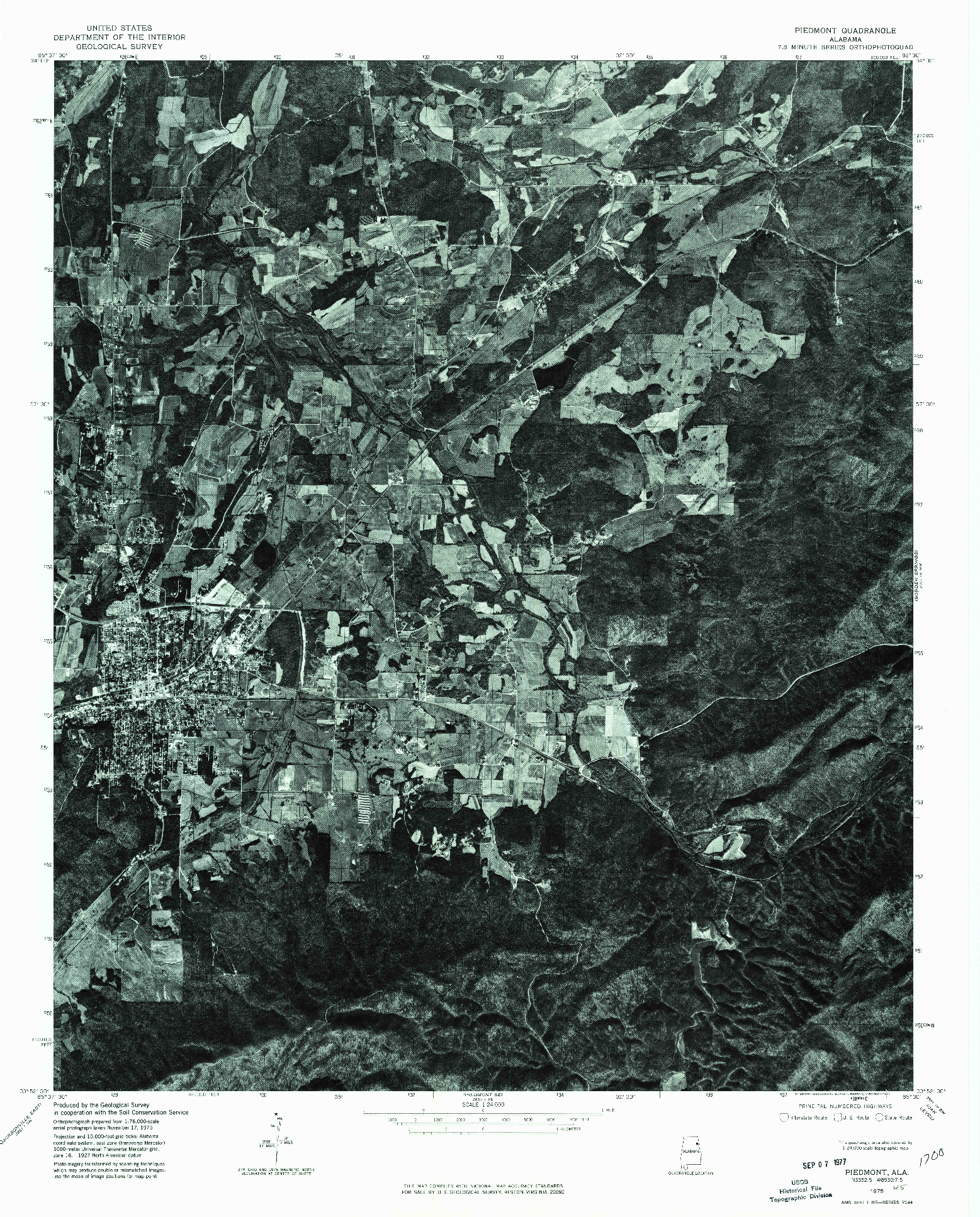 USGS 1:24000-SCALE QUADRANGLE FOR PIEDMONT, AL 1975