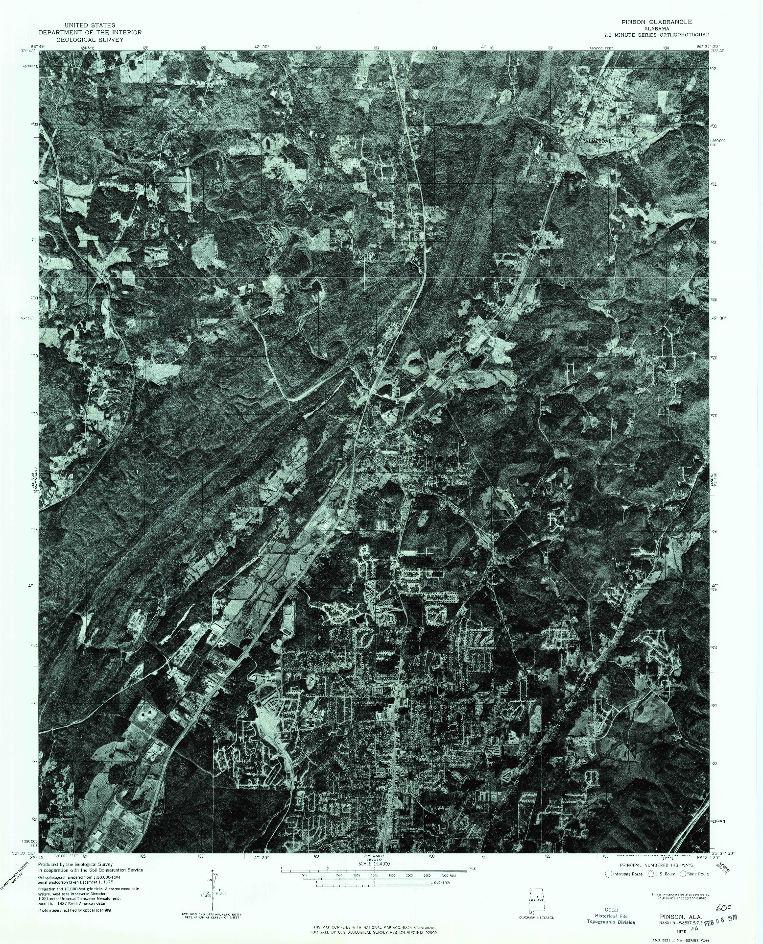 USGS 1:24000-SCALE QUADRANGLE FOR PINSON, AL 1975