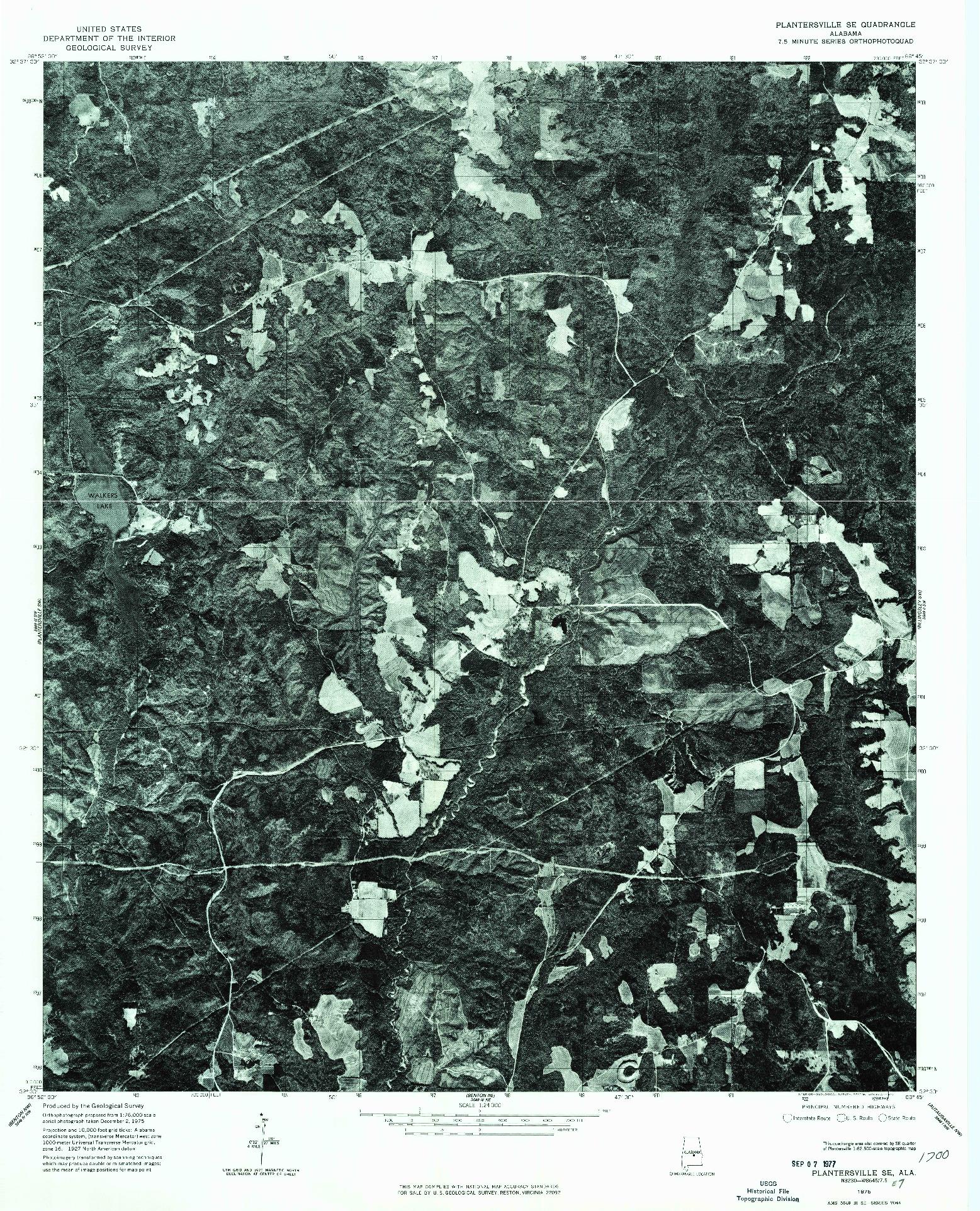 USGS 1:24000-SCALE QUADRANGLE FOR PLANTERSVILLE SE, AL 1975