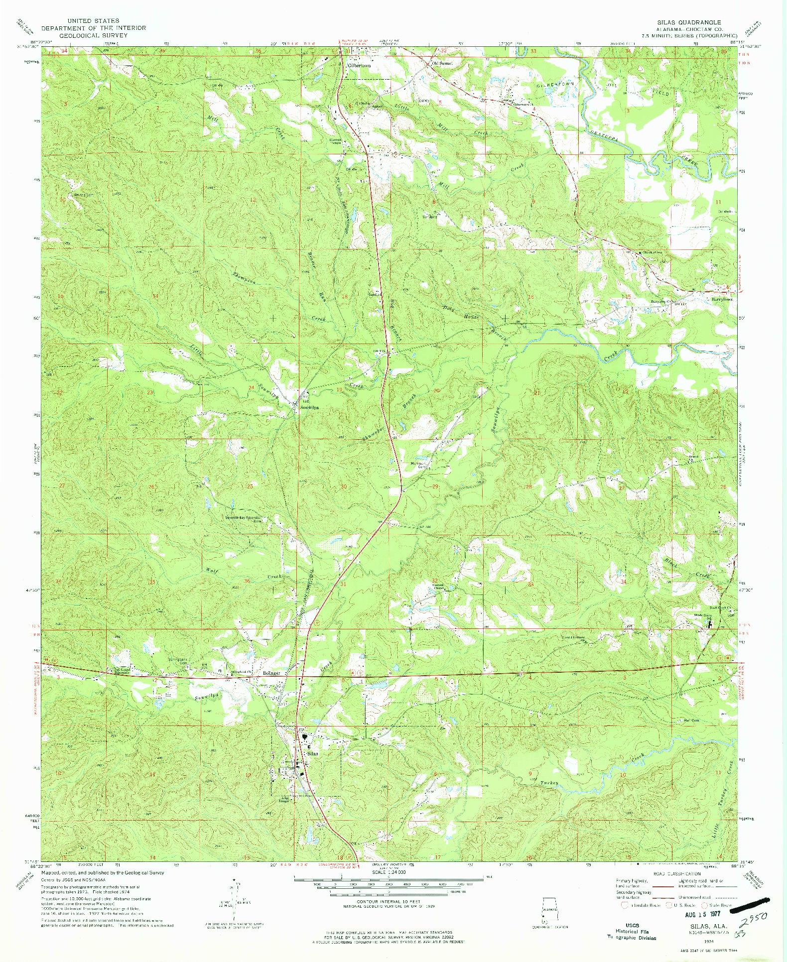 USGS 1:24000-SCALE QUADRANGLE FOR SILAS, AL 1974