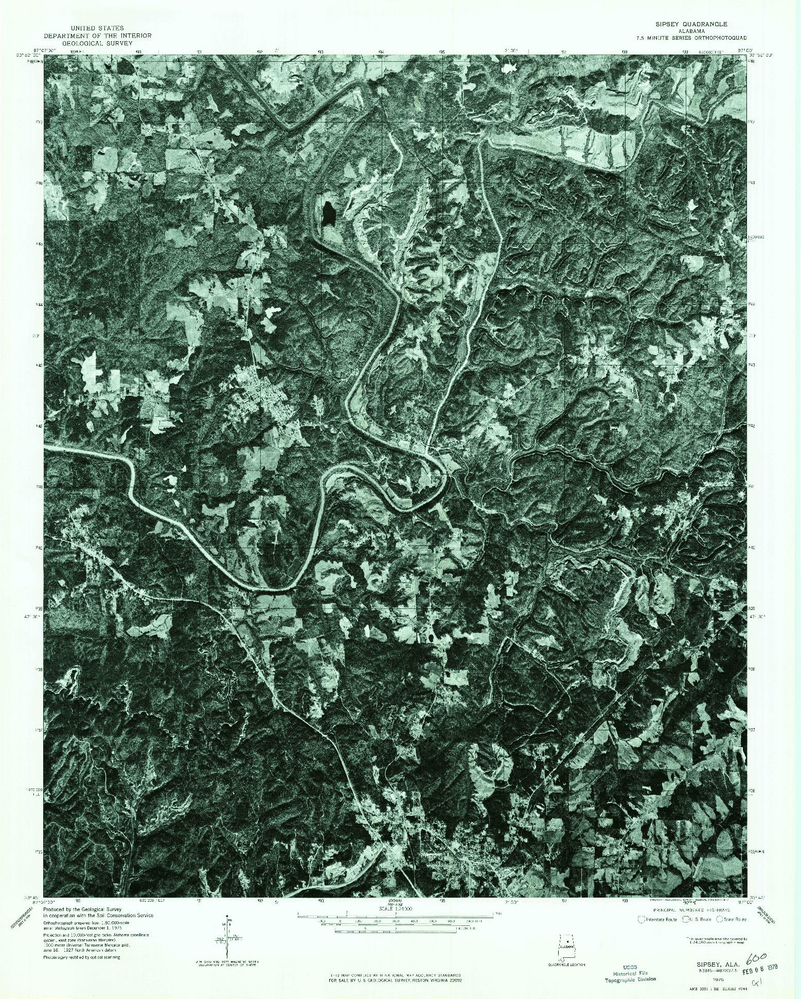 USGS 1:24000-SCALE QUADRANGLE FOR SIPSEY, AL 1975