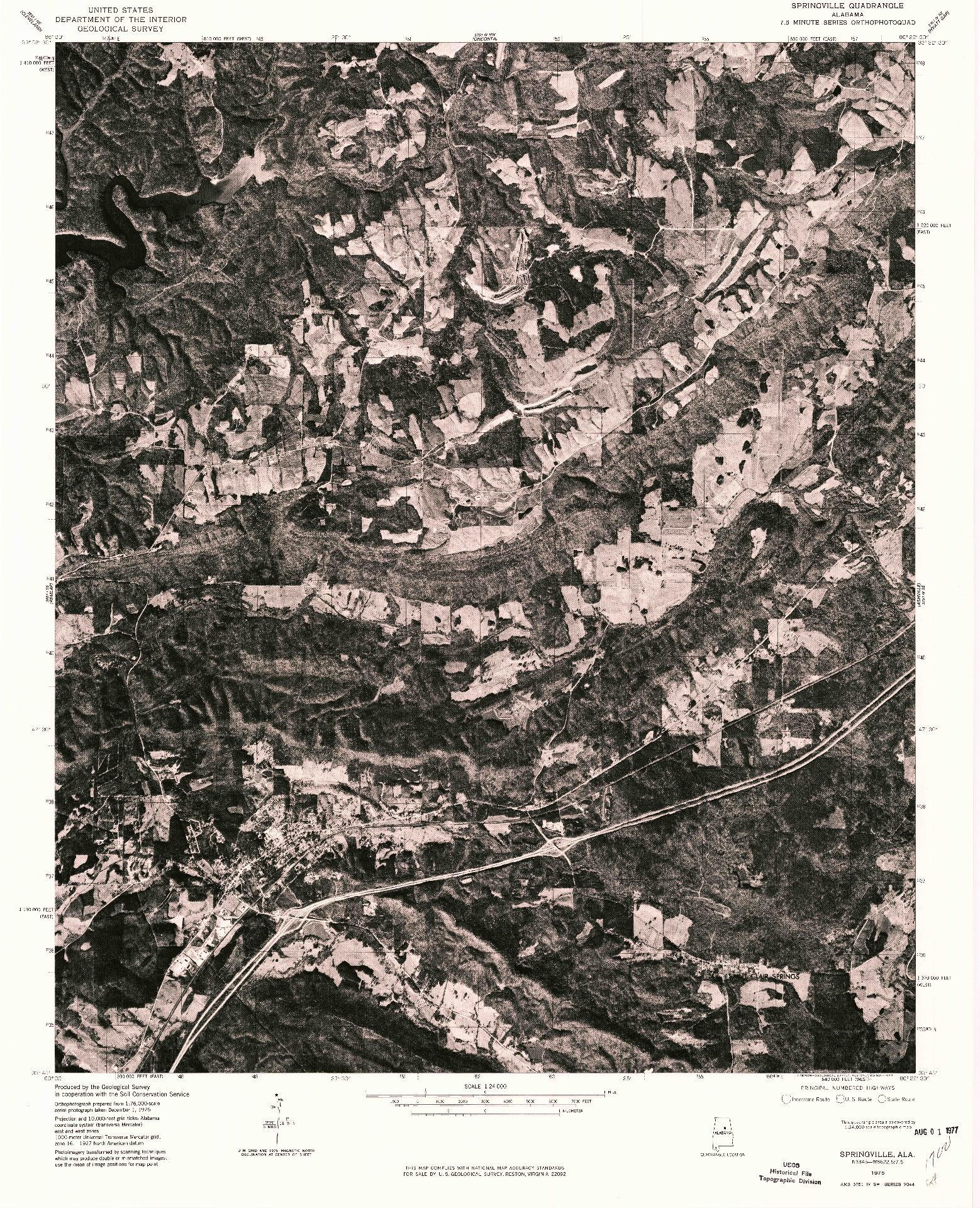 USGS 1:24000-SCALE QUADRANGLE FOR SPRINGVILLE, AL 1975