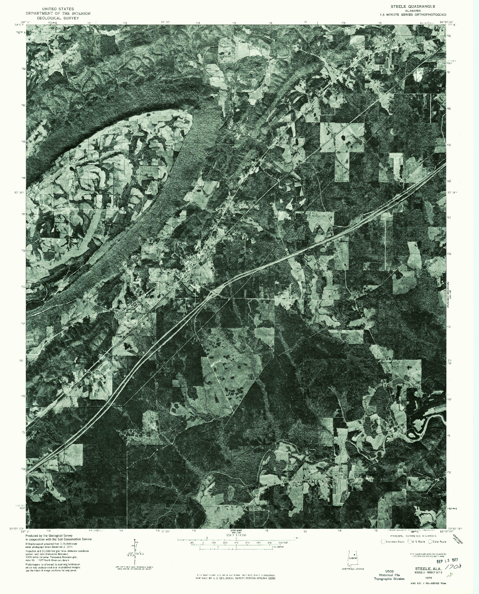 USGS 1:24000-SCALE QUADRANGLE FOR STEELE, AL 1975