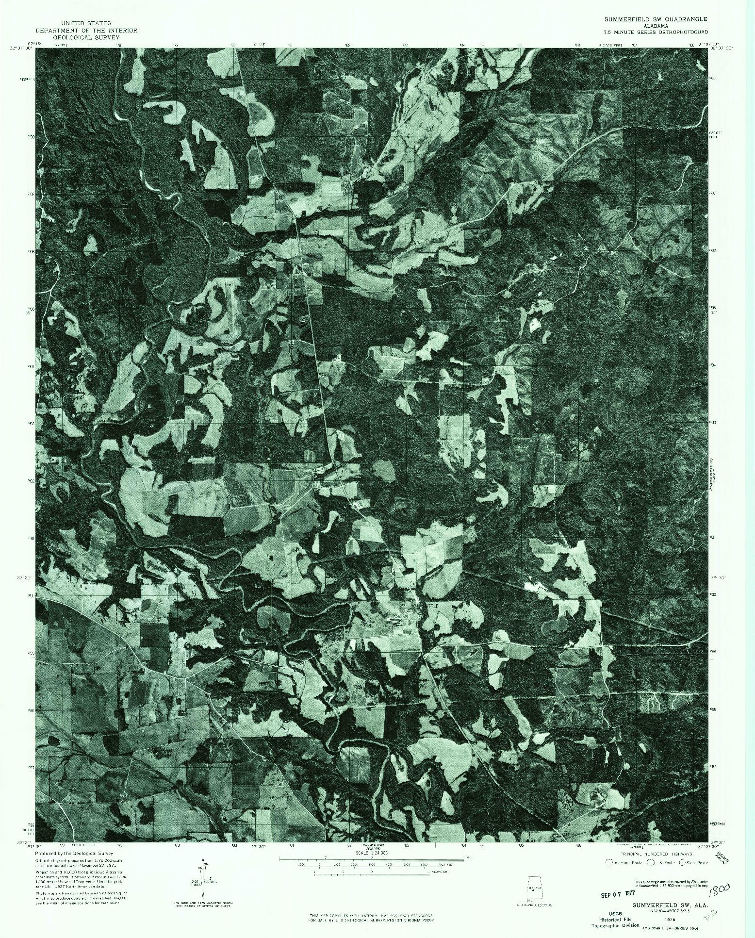 USGS 1:24000-SCALE QUADRANGLE FOR SUMMERFIELD SW, AL 1975