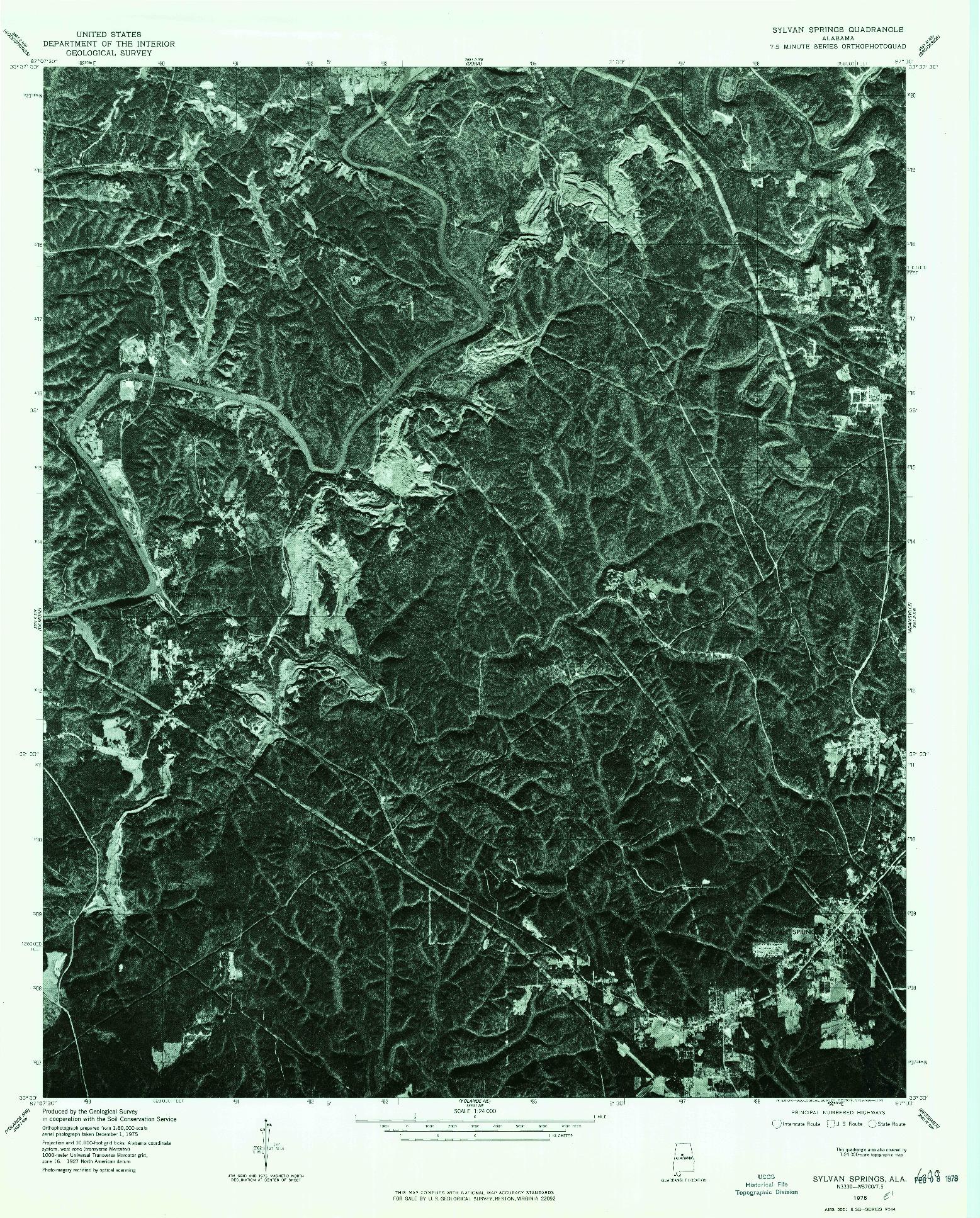 USGS 1:24000-SCALE QUADRANGLE FOR SYLVAN SPRINGS, AL 1975