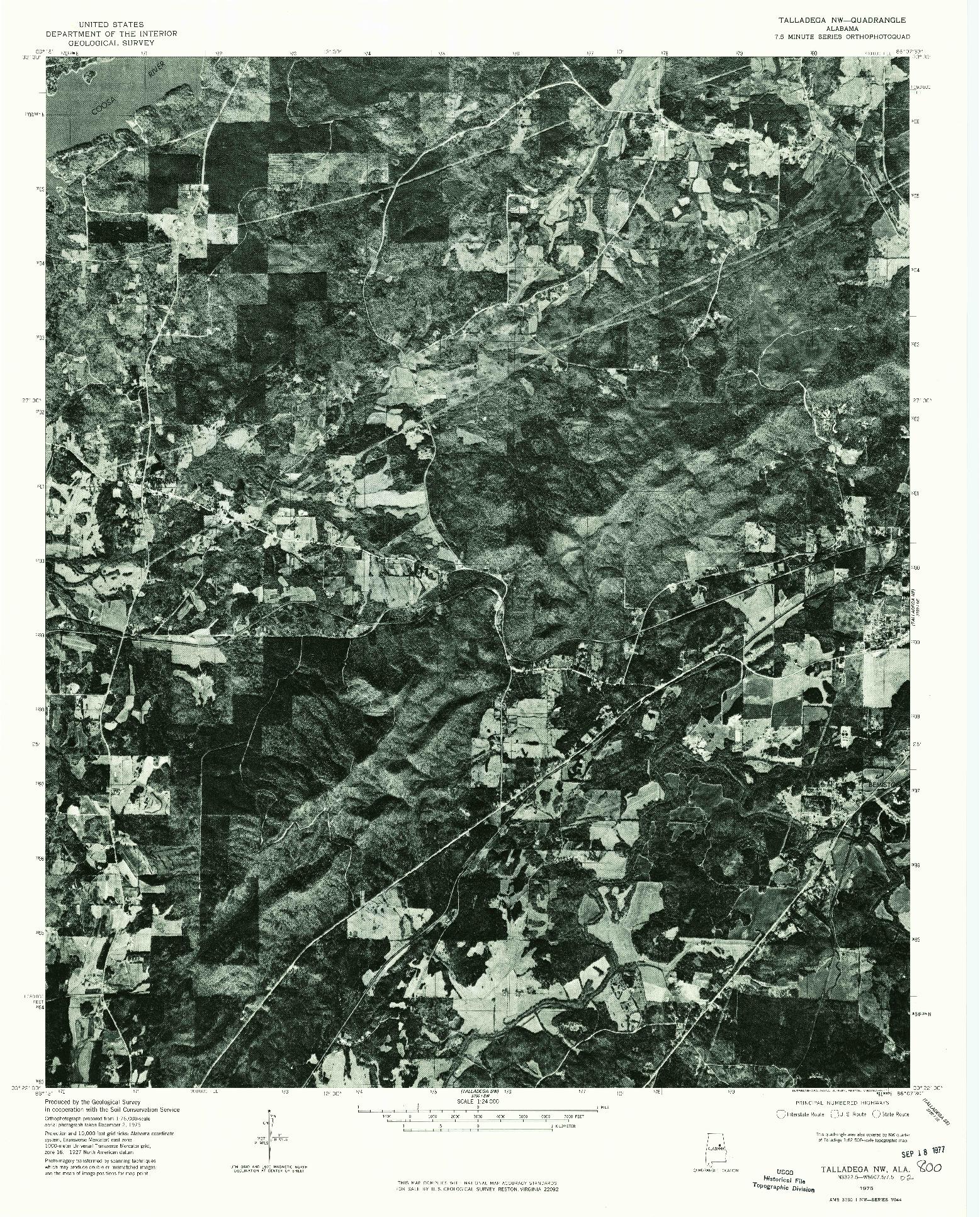 USGS 1:24000-SCALE QUADRANGLE FOR TALLADEGA NW, AL 1975