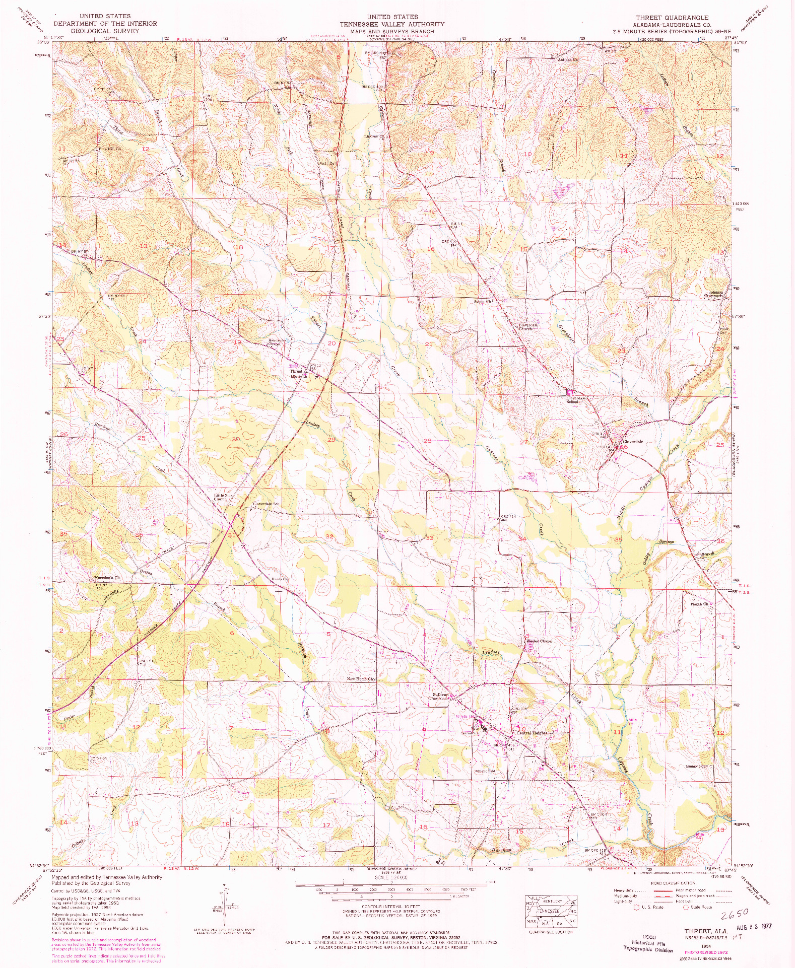 USGS 1:24000-SCALE QUADRANGLE FOR THREET, AL 1954