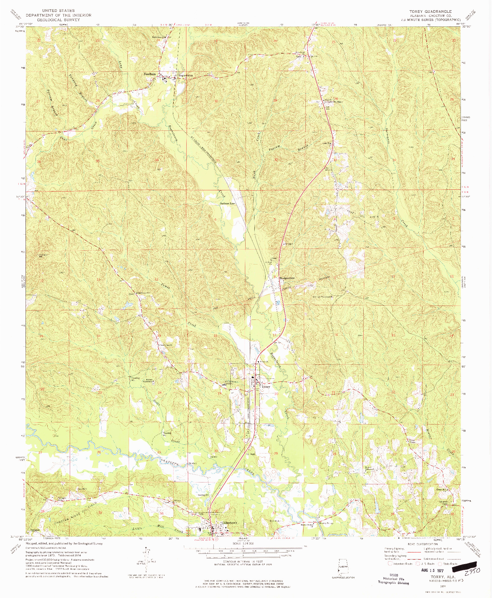 USGS 1:24000-SCALE QUADRANGLE FOR TOXEY, AL 1974