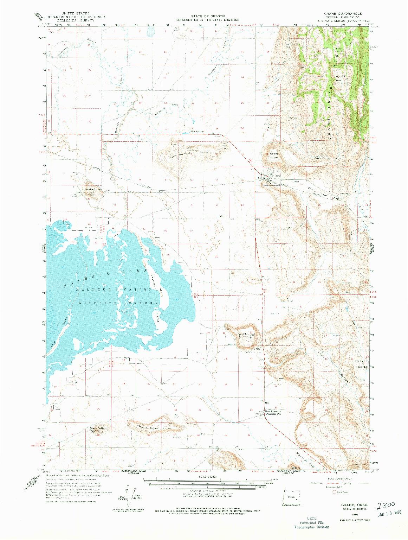 USGS 1:62500-SCALE QUADRANGLE FOR CRANE, OR 1960