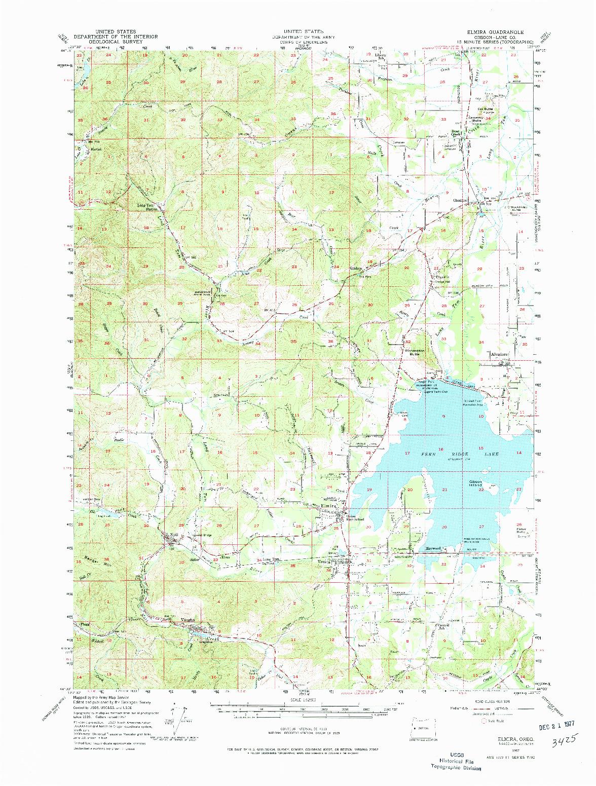 USGS 1:62500-SCALE QUADRANGLE FOR ELMIRA, OR 1957