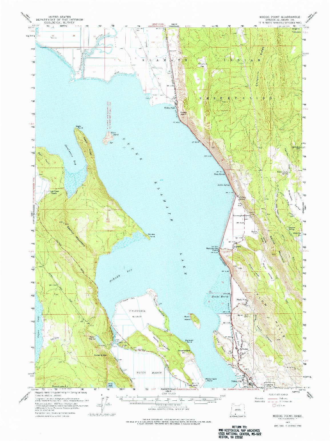 USGS 1:62500-SCALE QUADRANGLE FOR MODOC POINT, OR 1957