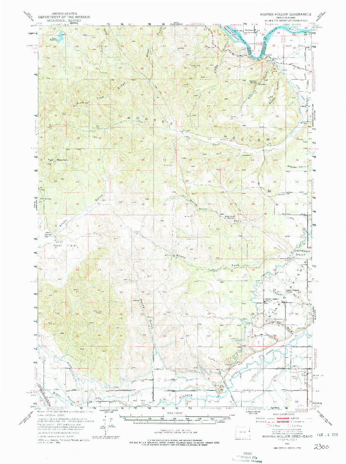 USGS 1:62500-SCALE QUADRANGLE FOR MOORES HOLLOW, OR 1951