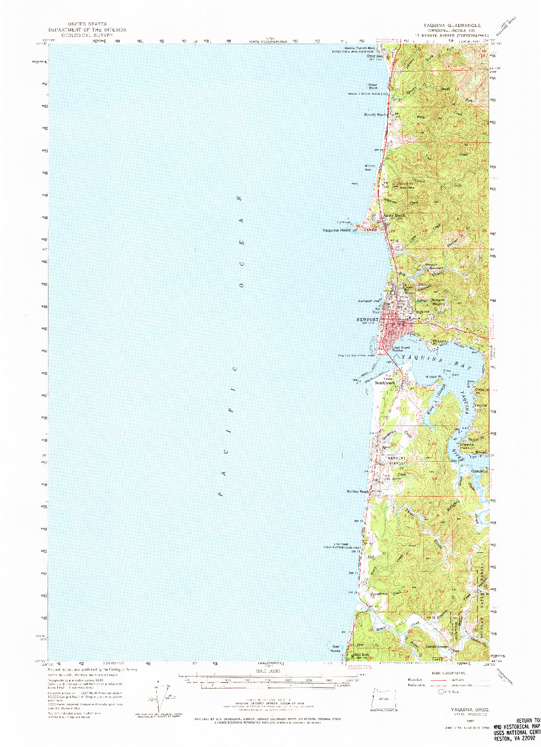 USGS 1:62500-SCALE QUADRANGLE FOR YAQUINA NE, OR 1957