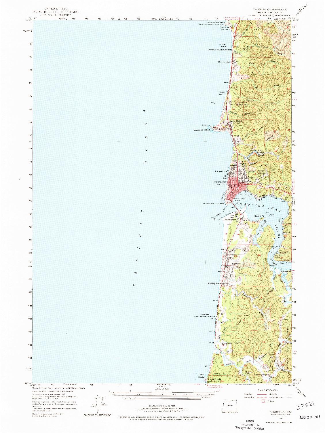 USGS 1:62500-SCALE QUADRANGLE FOR YAQUINA, OR 1957