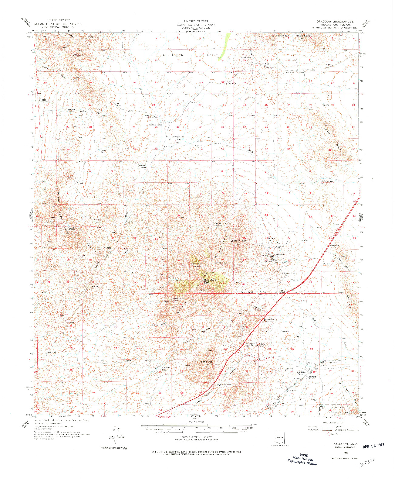 USGS 1:62500-SCALE QUADRANGLE FOR DRAGOON, AZ 1958