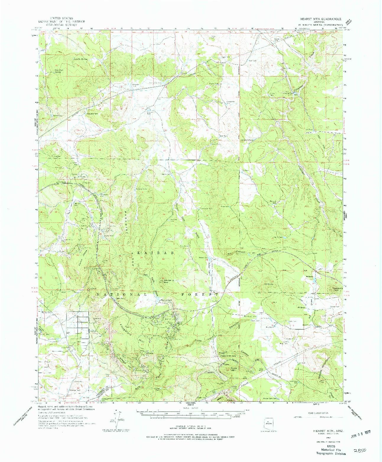 USGS 1:62500-SCALE QUADRANGLE FOR HEARST MTN., AZ 1962