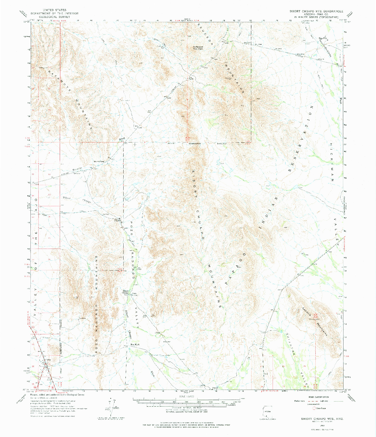USGS 1:62500-SCALE QUADRANGLE FOR SIKORT CHUAPO MTS, AZ 1963