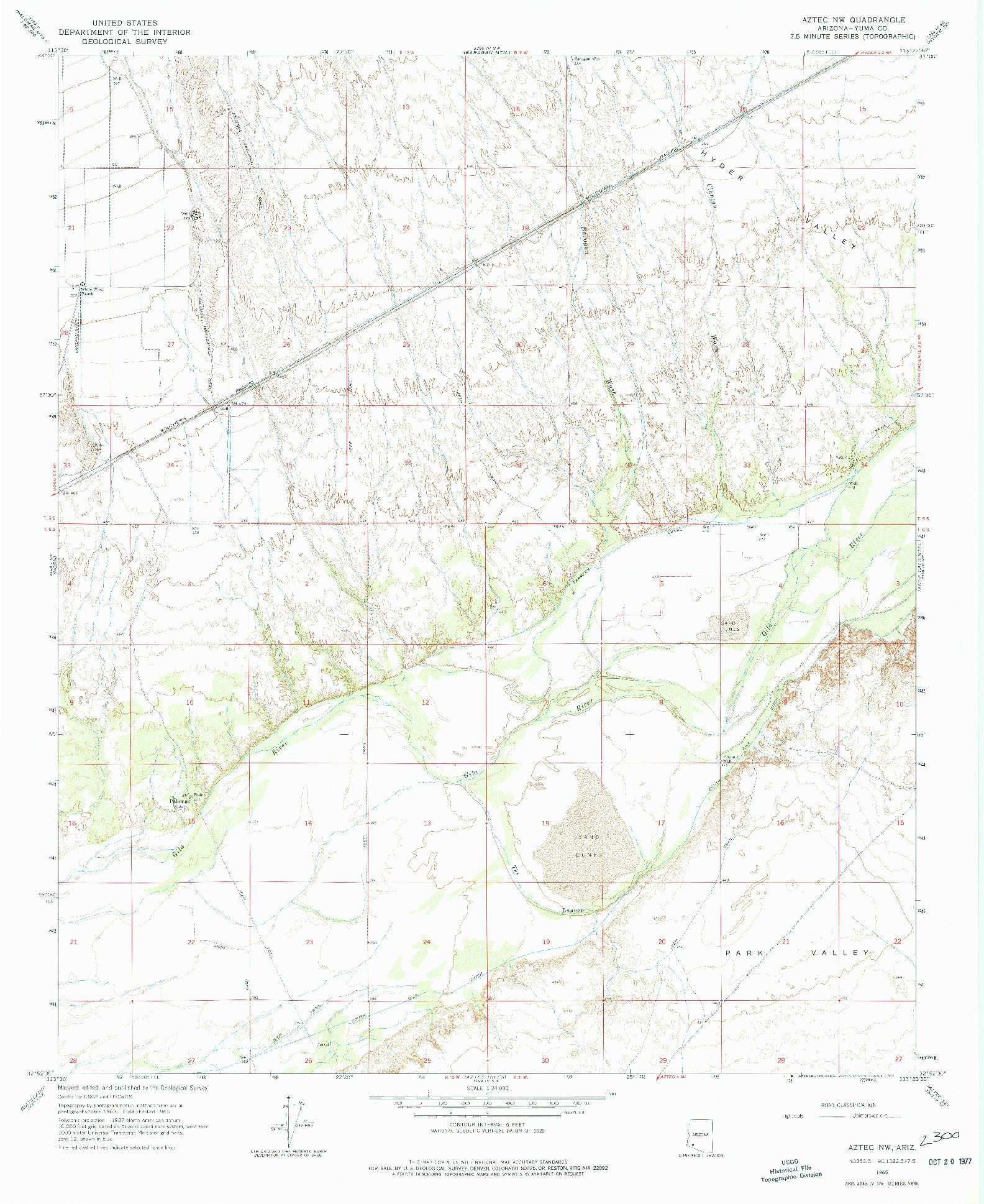 USGS 1:24000-SCALE QUADRANGLE FOR AZTEC NW, AZ 1965