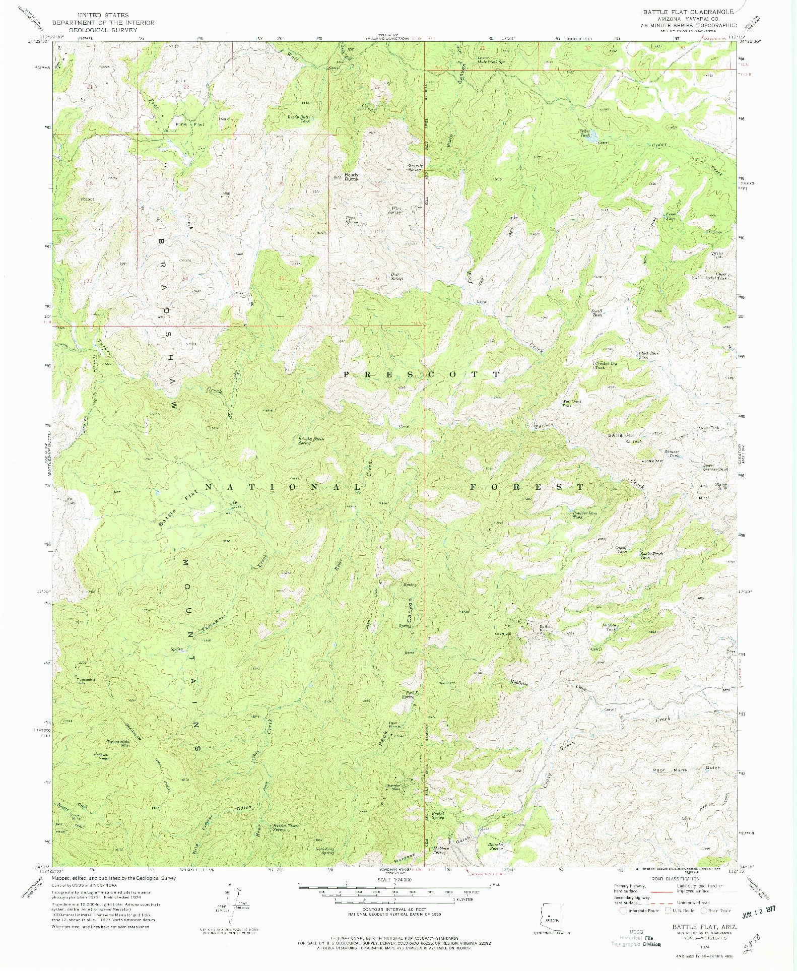 USGS 1:24000-SCALE QUADRANGLE FOR BATTLE FLAT, AZ 1974