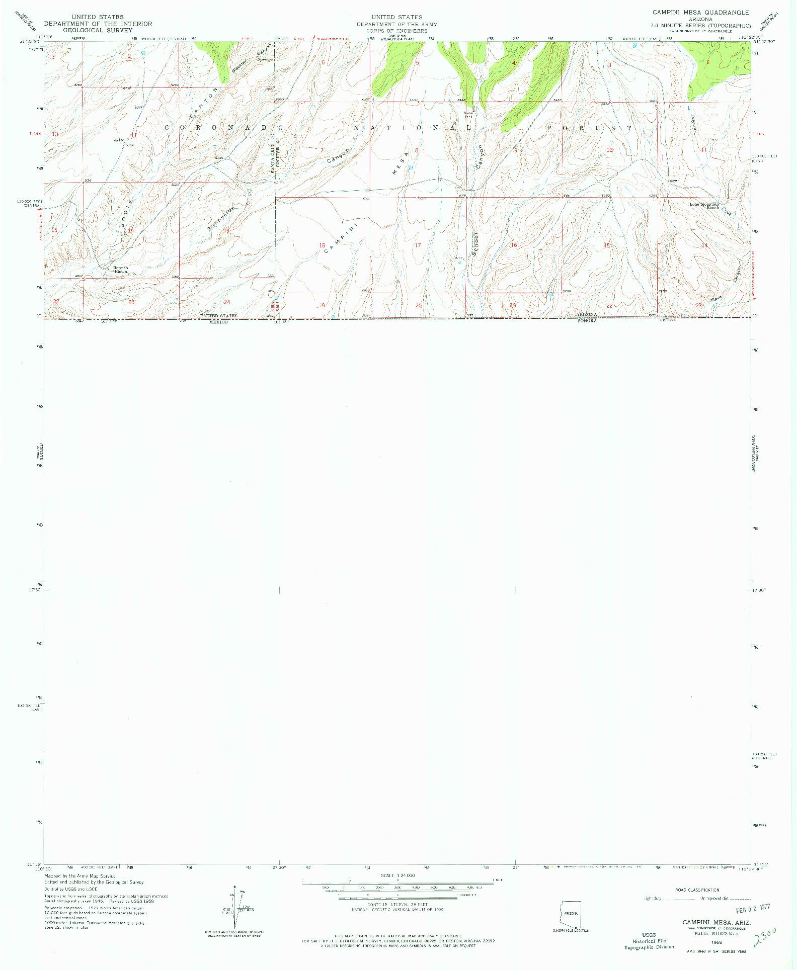 USGS 1:24000-SCALE QUADRANGLE FOR CAMPINI MESA, AZ 1958
