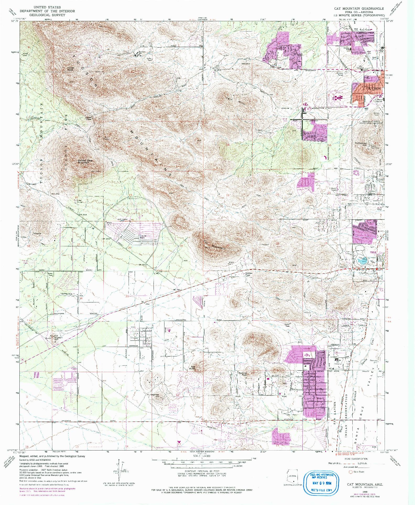 USGS 1:24000-SCALE QUADRANGLE FOR CAT MOUNTAIN, AZ 1968