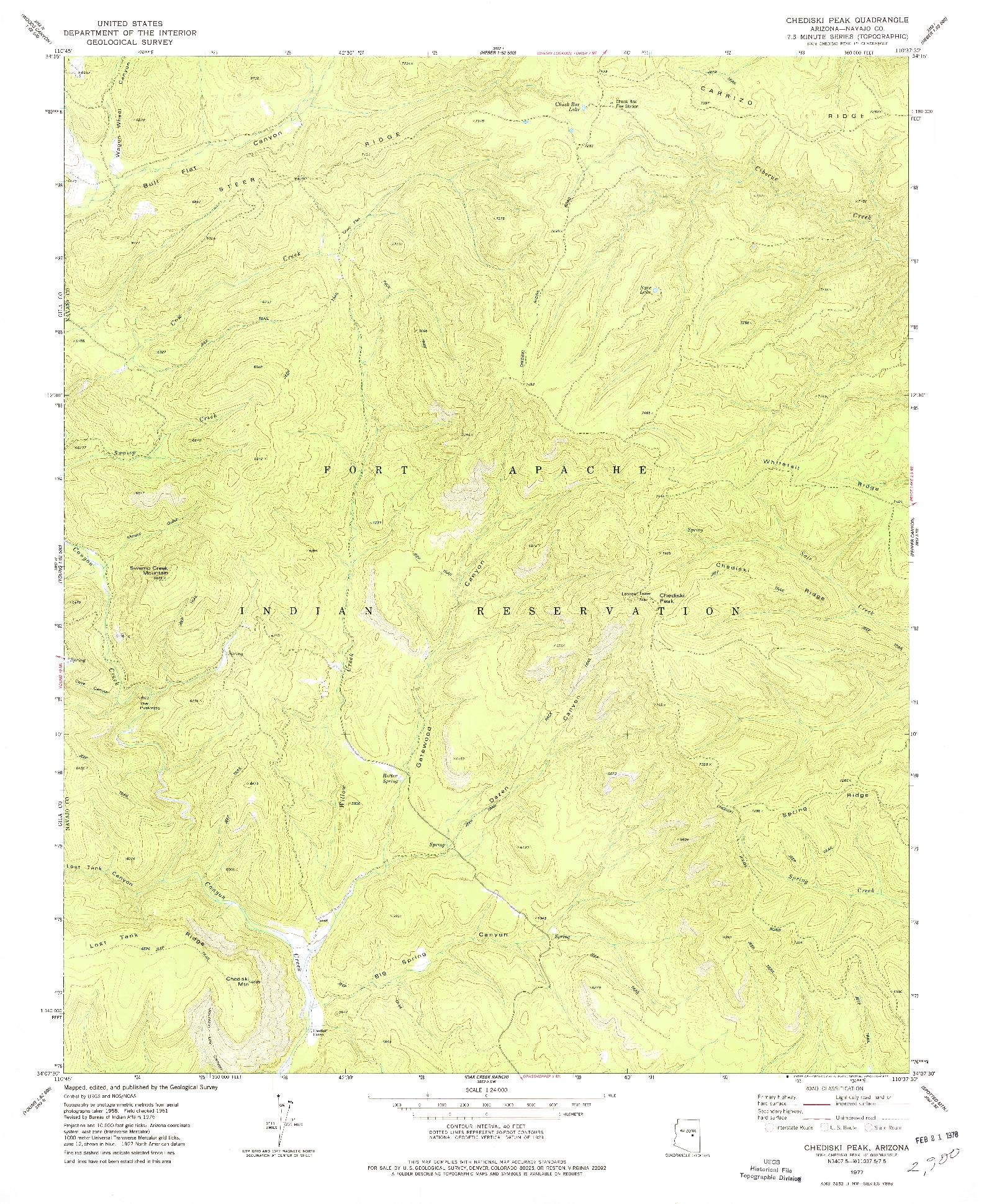 USGS 1:24000-SCALE QUADRANGLE FOR CHEDISKI PEAK, AZ 1977