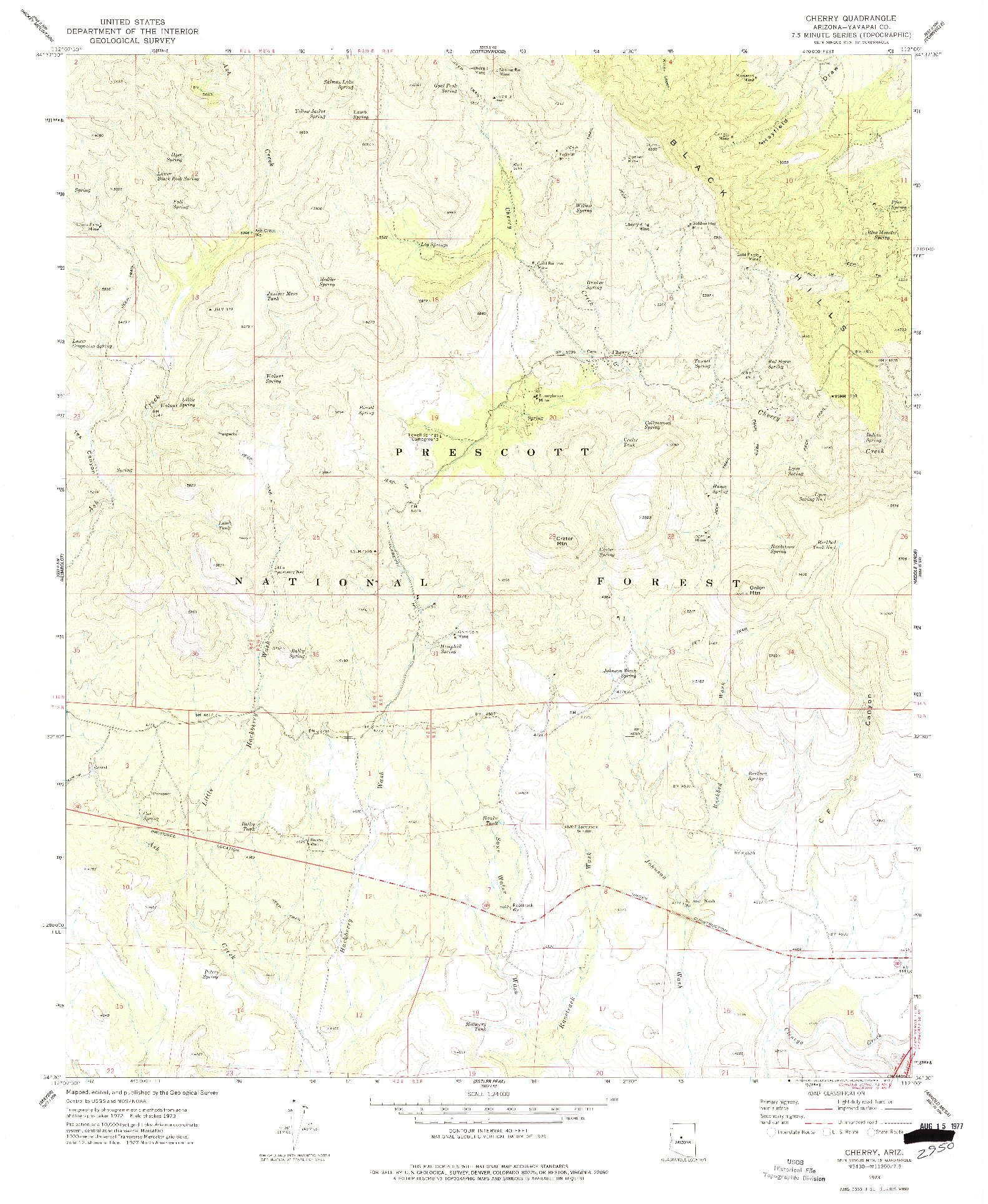 USGS 1:24000-SCALE QUADRANGLE FOR CHERRY, AZ 1973