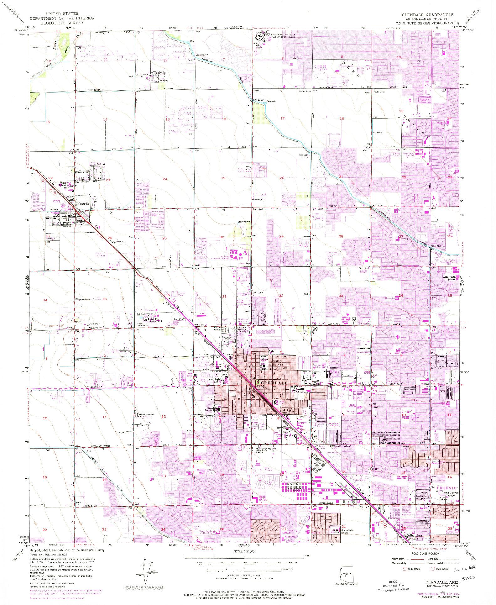 USGS 1:24000-SCALE QUADRANGLE FOR GLENDALE, AZ 1957