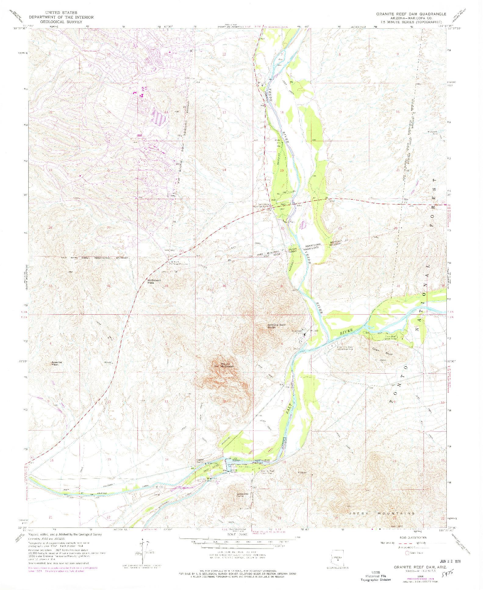 USGS 1:24000-SCALE QUADRANGLE FOR GRANITE REEF DAM, AZ 1964