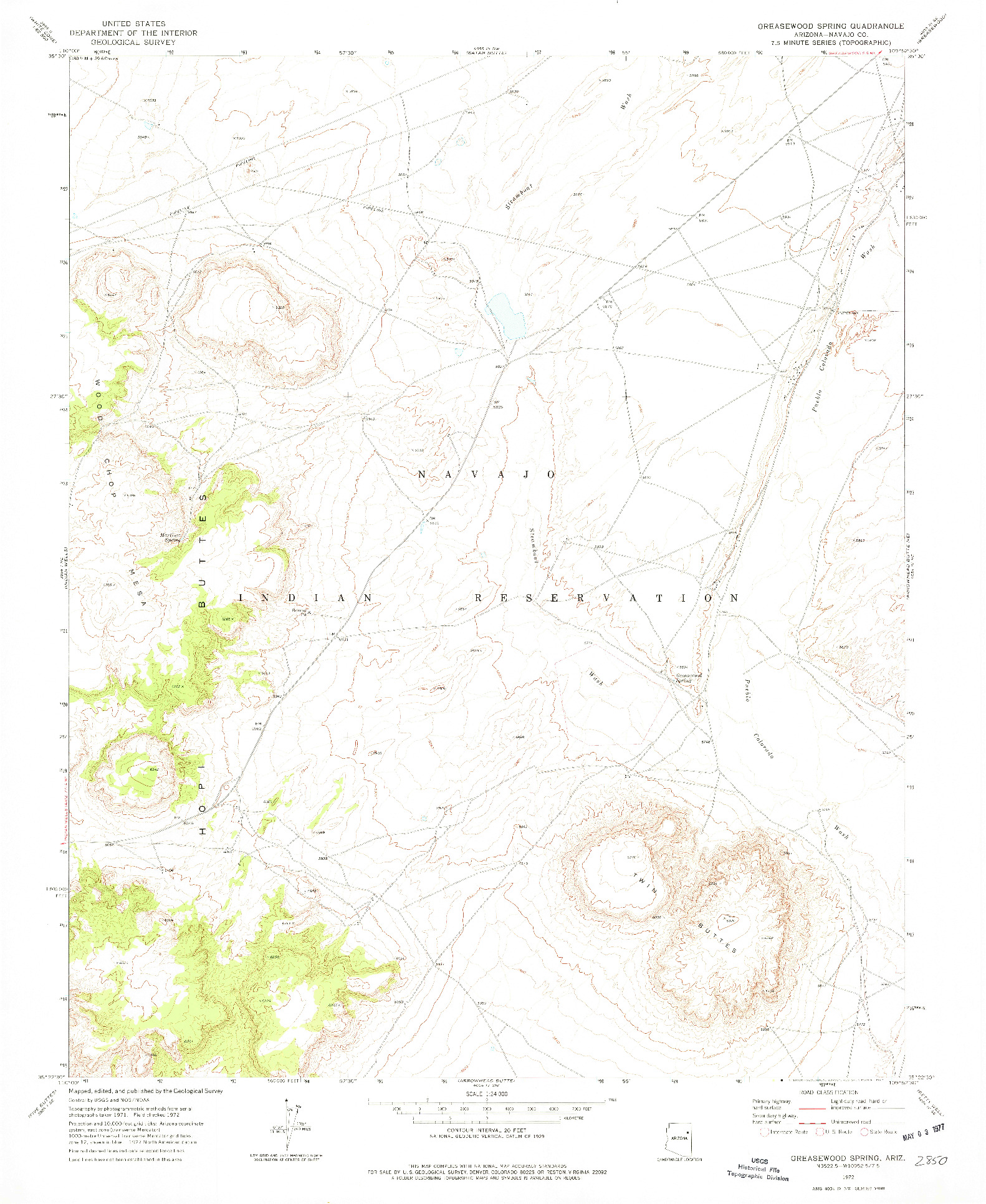 USGS 1:24000-SCALE QUADRANGLE FOR GREASEWOOD SPRING, AZ 1972