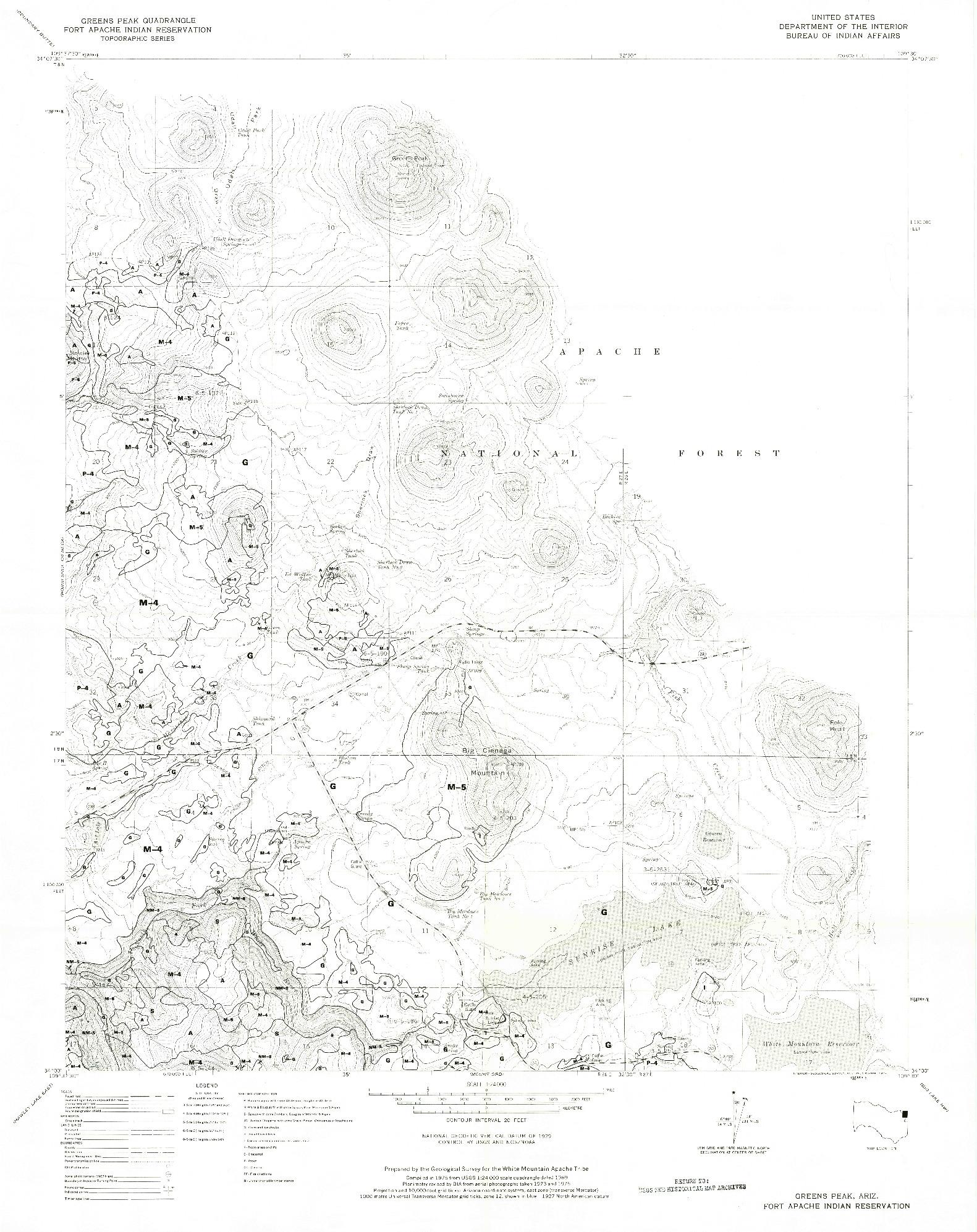 USGS 1:24000-SCALE QUADRANGLE FOR GREENS PEAK, AZ 1975