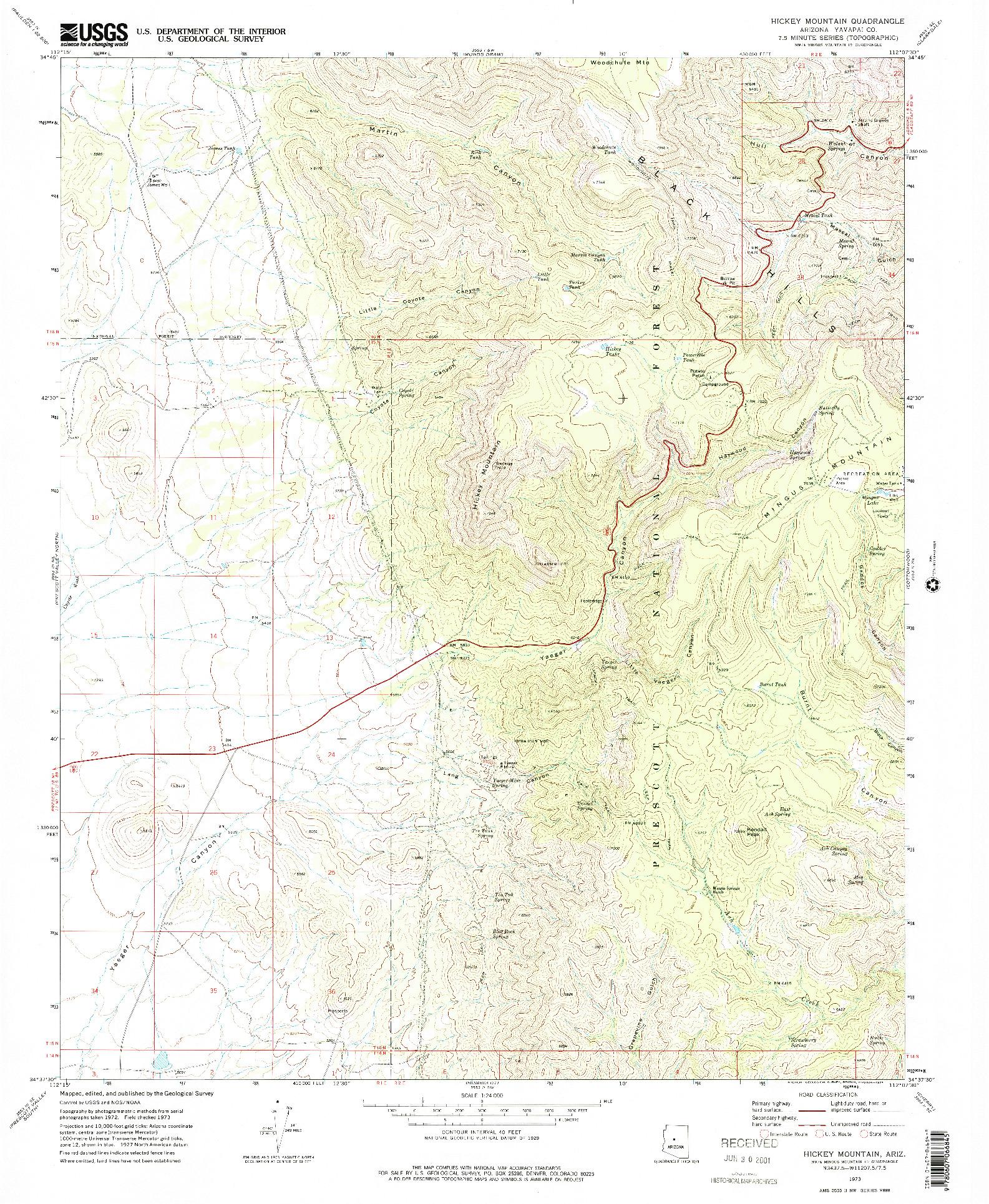 USGS 1:24000-SCALE QUADRANGLE FOR HICKEY MOUNTAIN, AZ 1973