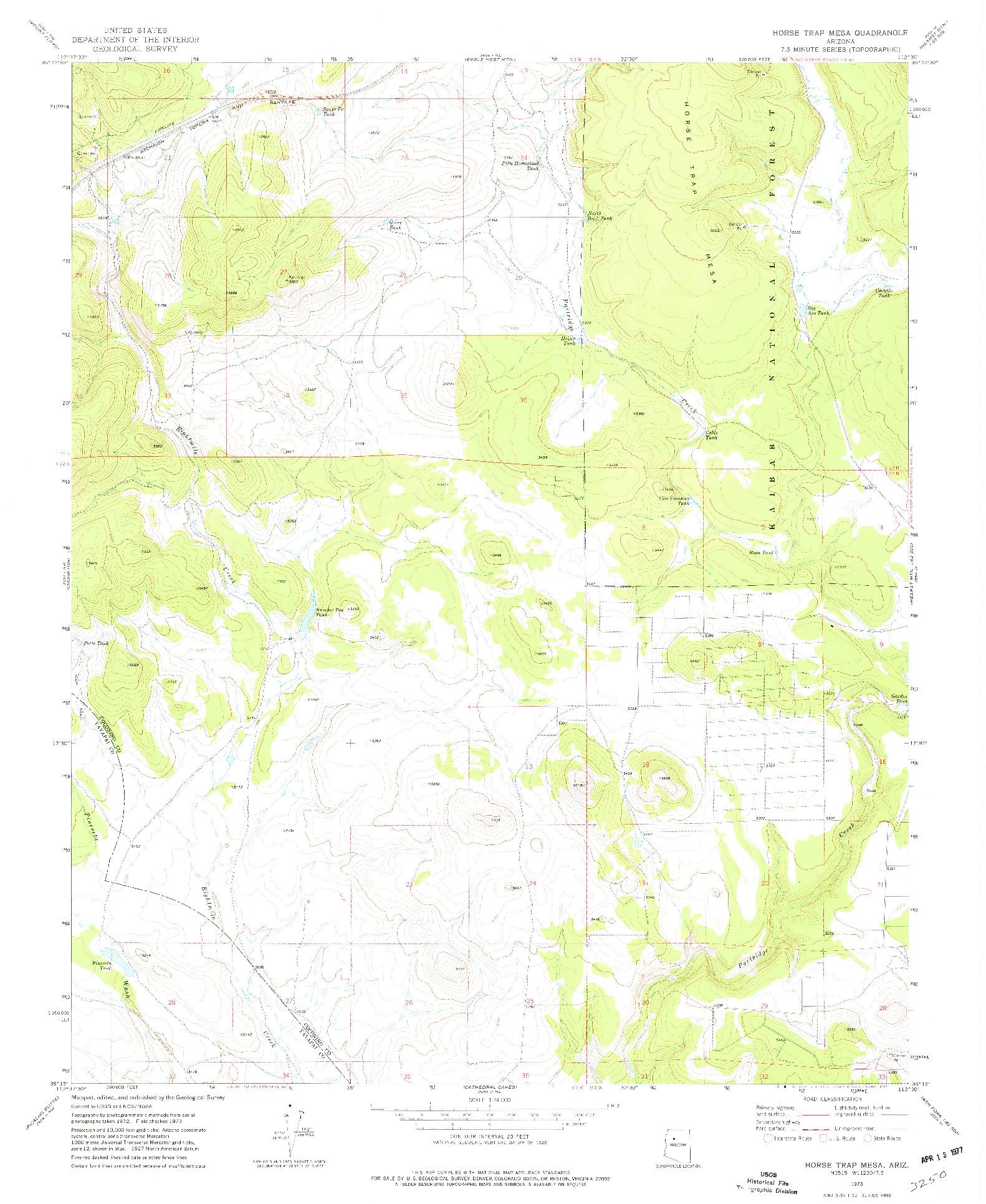 USGS 1:24000-SCALE QUADRANGLE FOR HORSE TRAP MESA, AZ 1973