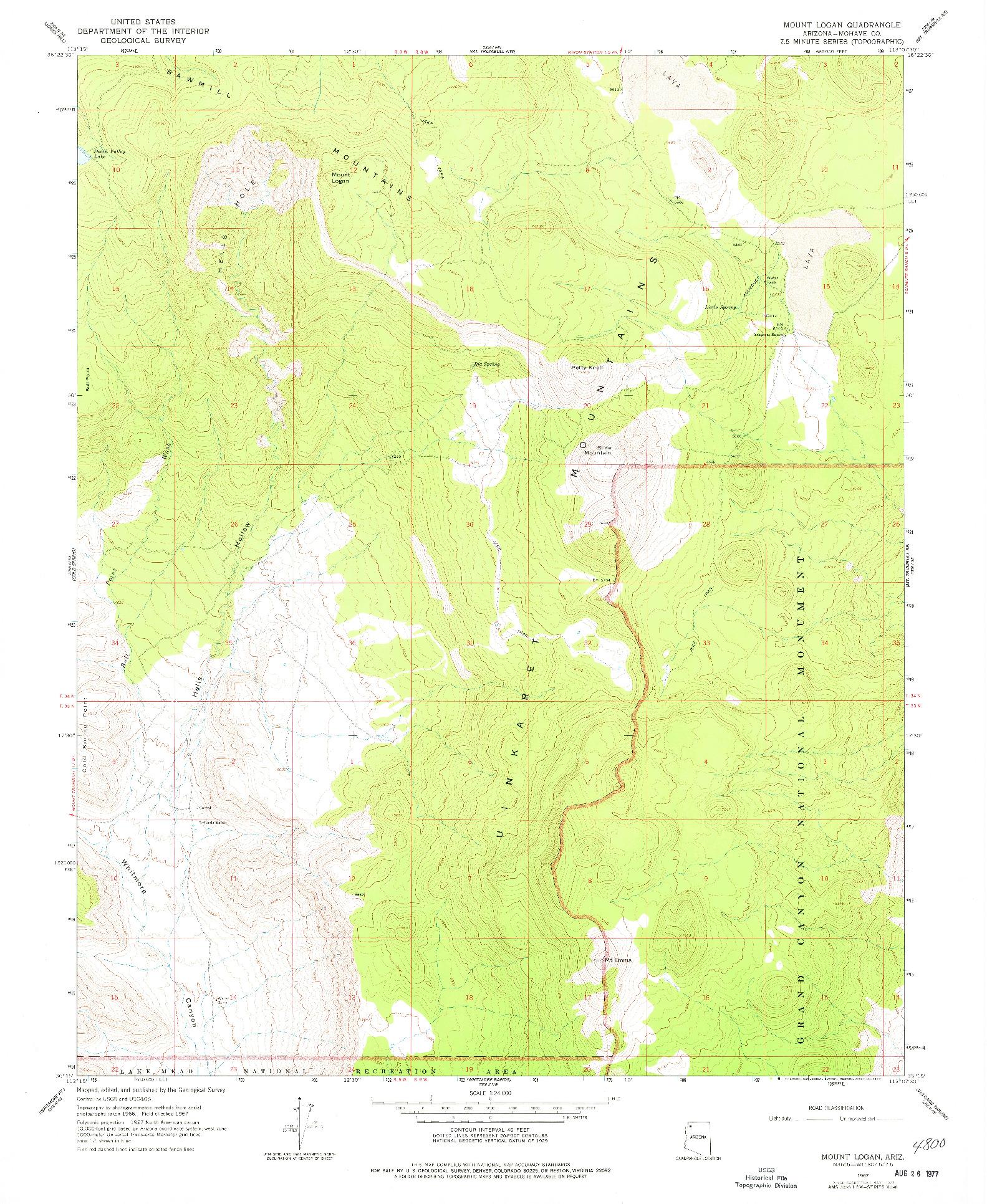 USGS 1:24000-SCALE QUADRANGLE FOR MOUNT LOGAN, AZ 1967