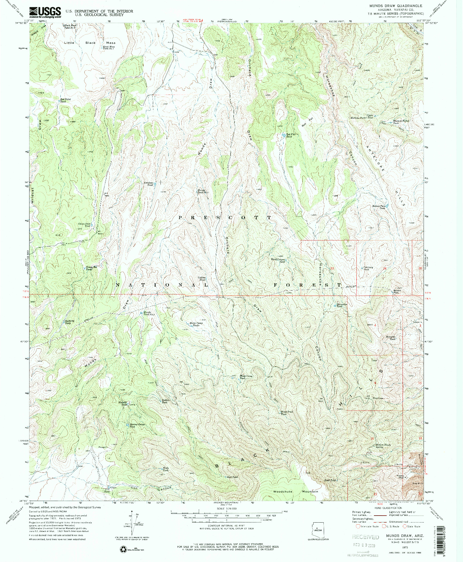 USGS 1:24000-SCALE QUADRANGLE FOR MUNDS DRAW, AZ 1973